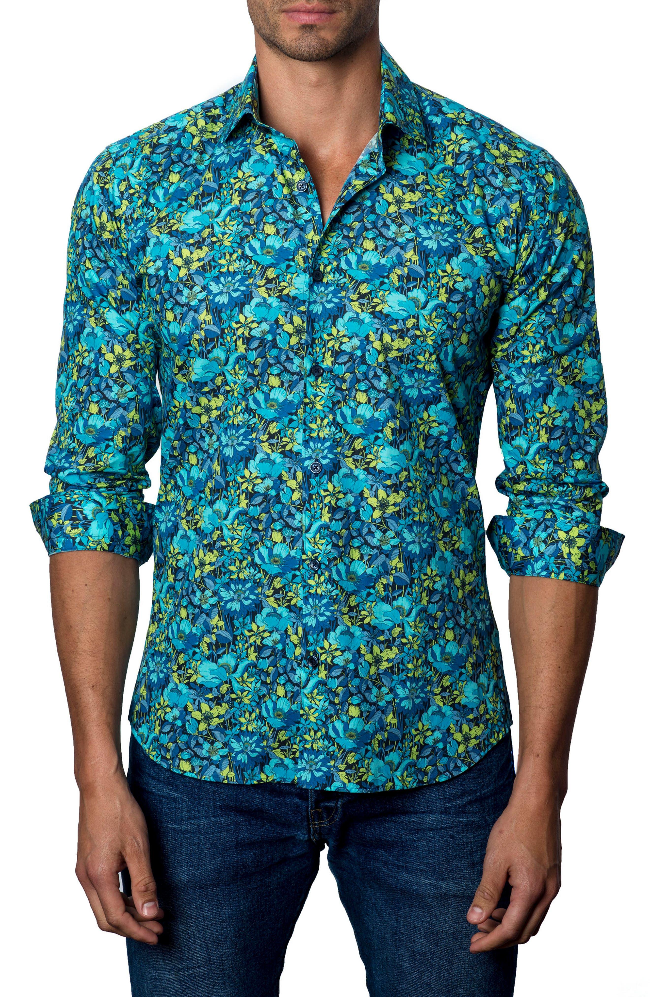 Sport Shirt,                         Main,                         color, BLACK /TURQUOISE