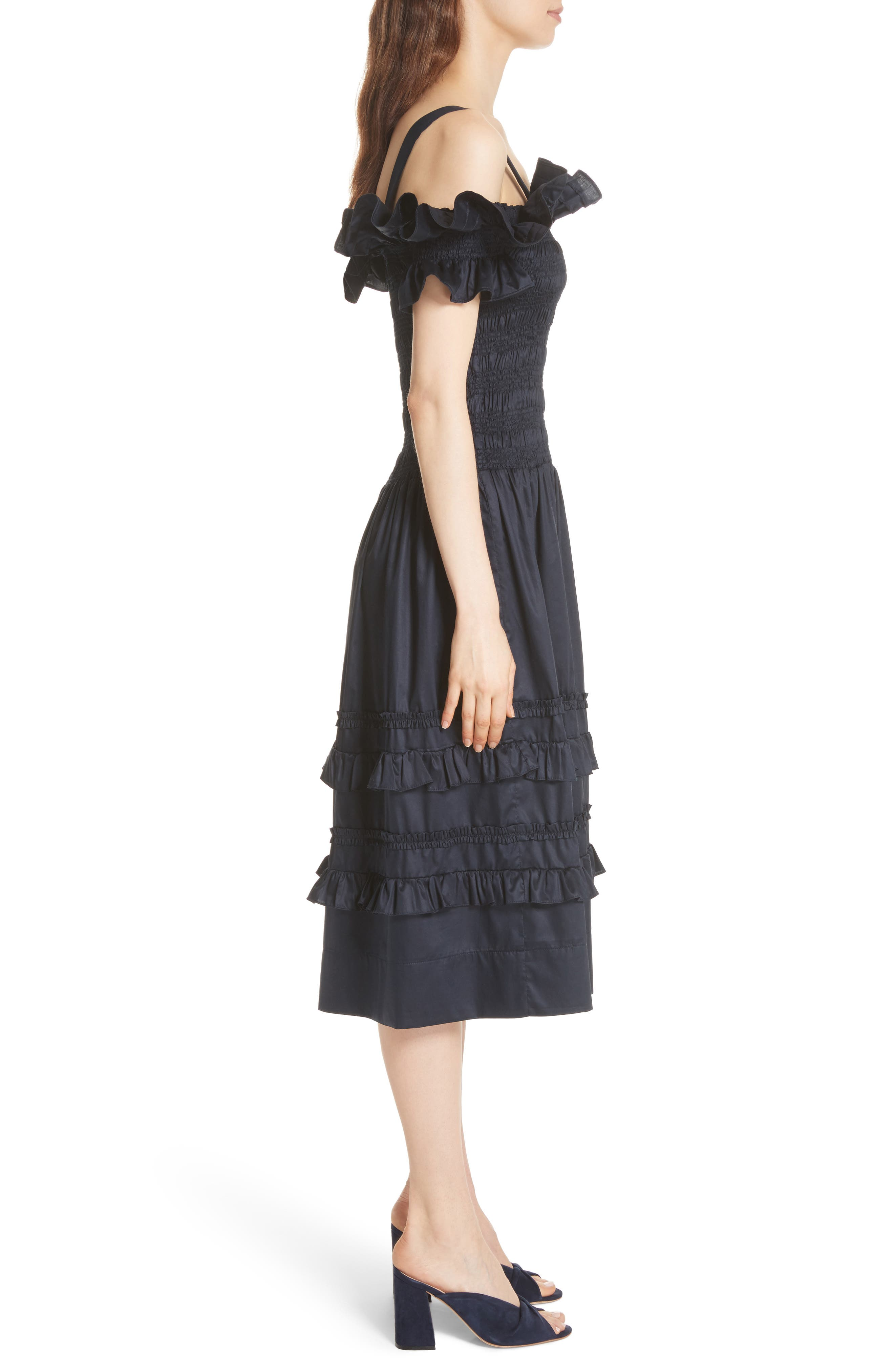 Cold Shoulder Smocked Cotton Dress,                             Alternate thumbnail 3, color,                             410