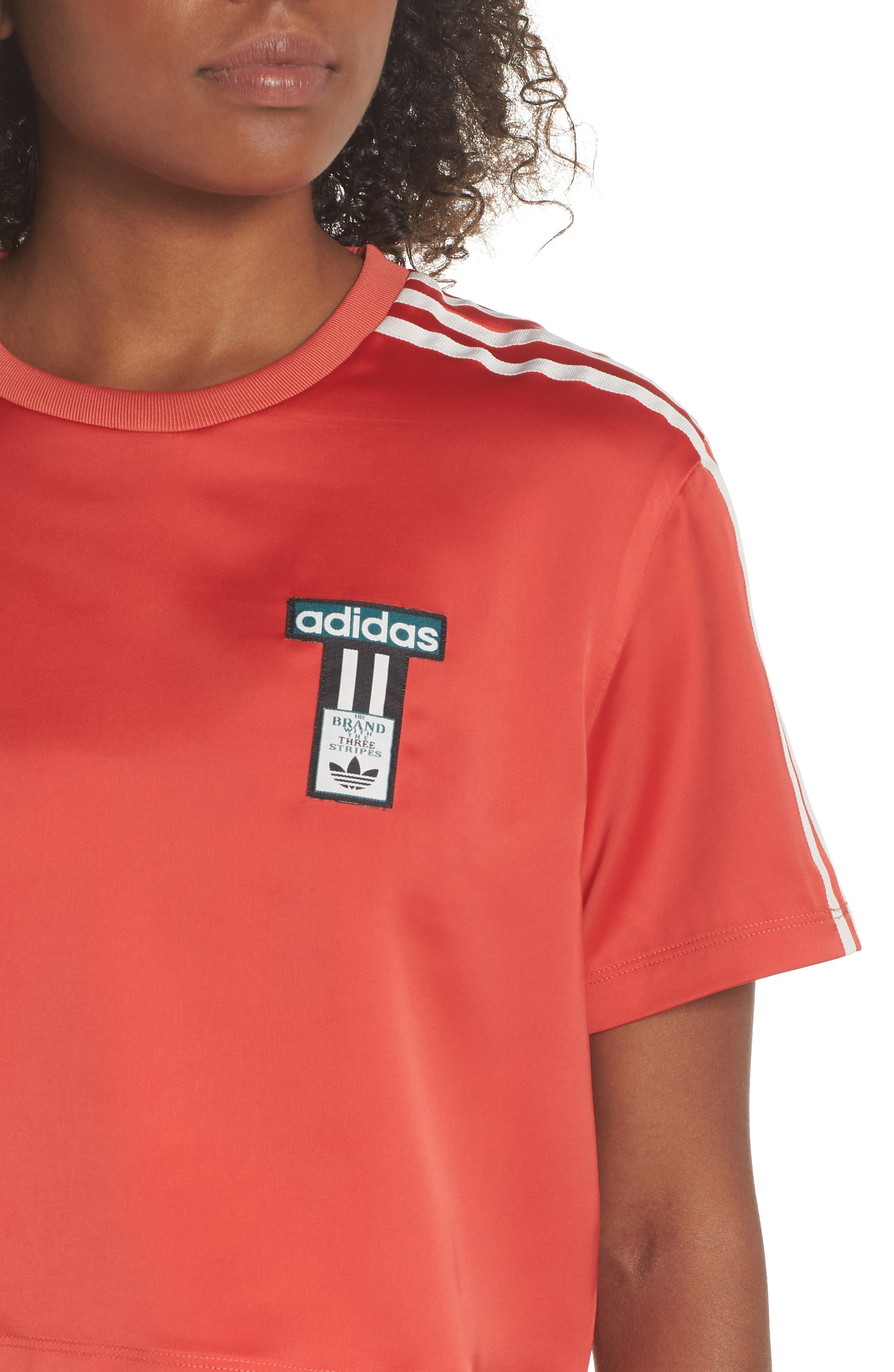 Originals Adibreak Tee,                             Alternate thumbnail 4, color,                             AMAZON RED