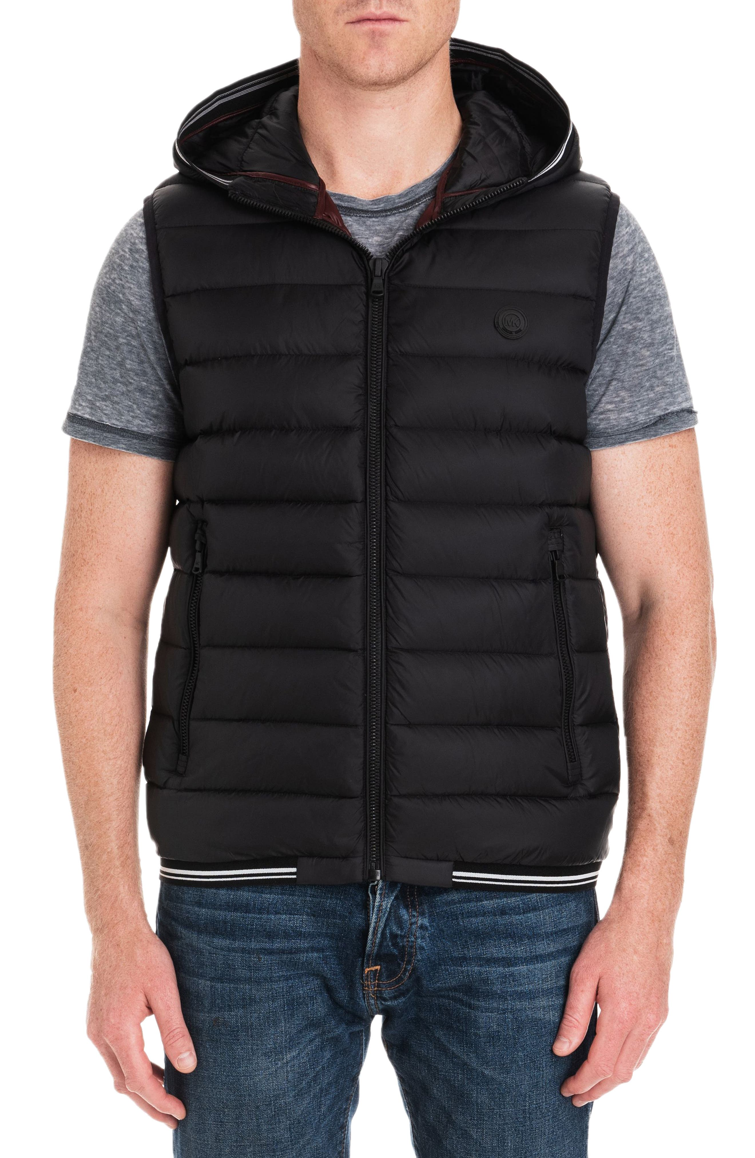 Locke Hooded Quilted Vest,                             Main thumbnail 1, color,                             BLACK