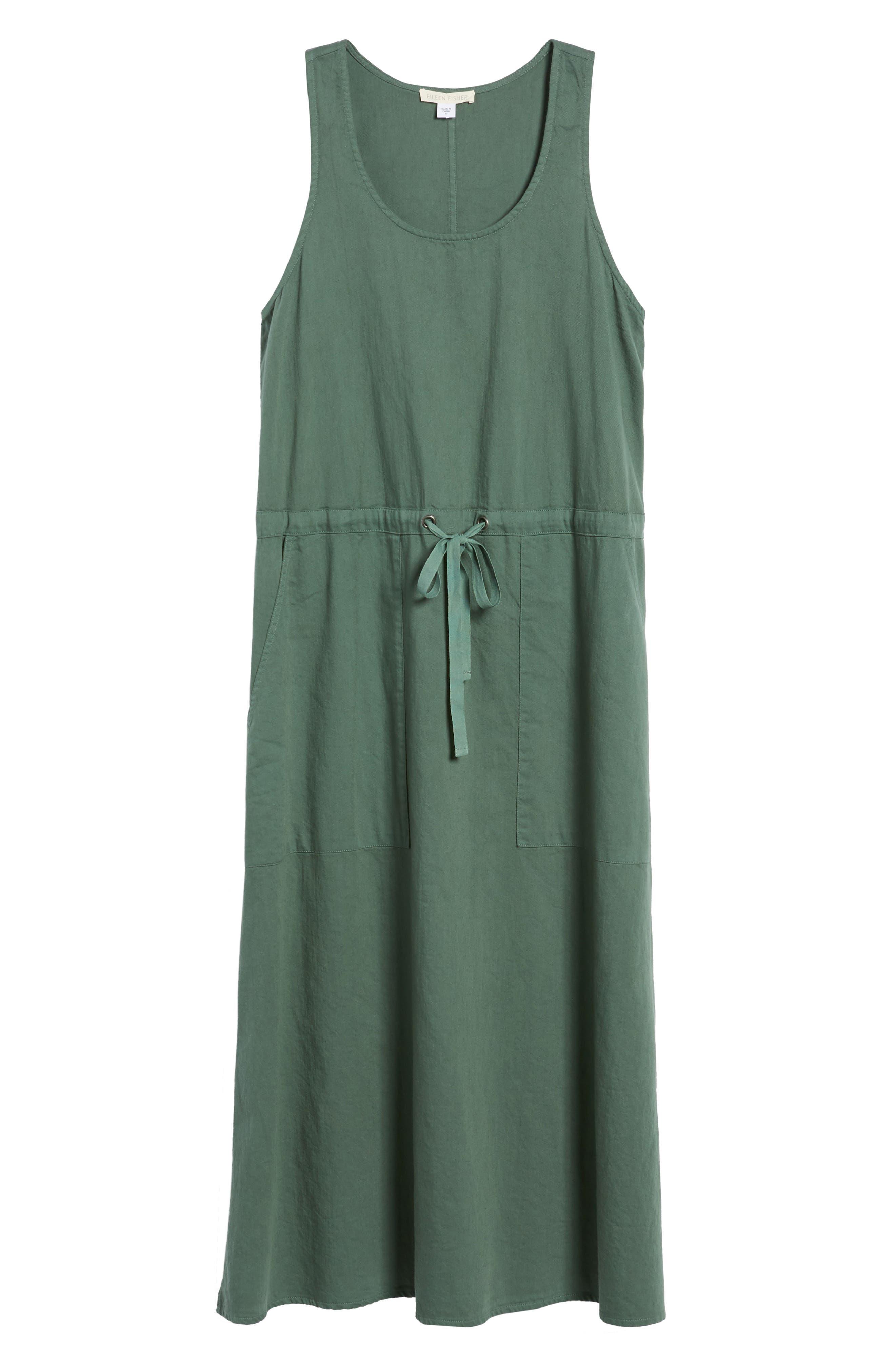 Drawstring Organic Cotton Midi Dress,                             Alternate thumbnail 24, color,