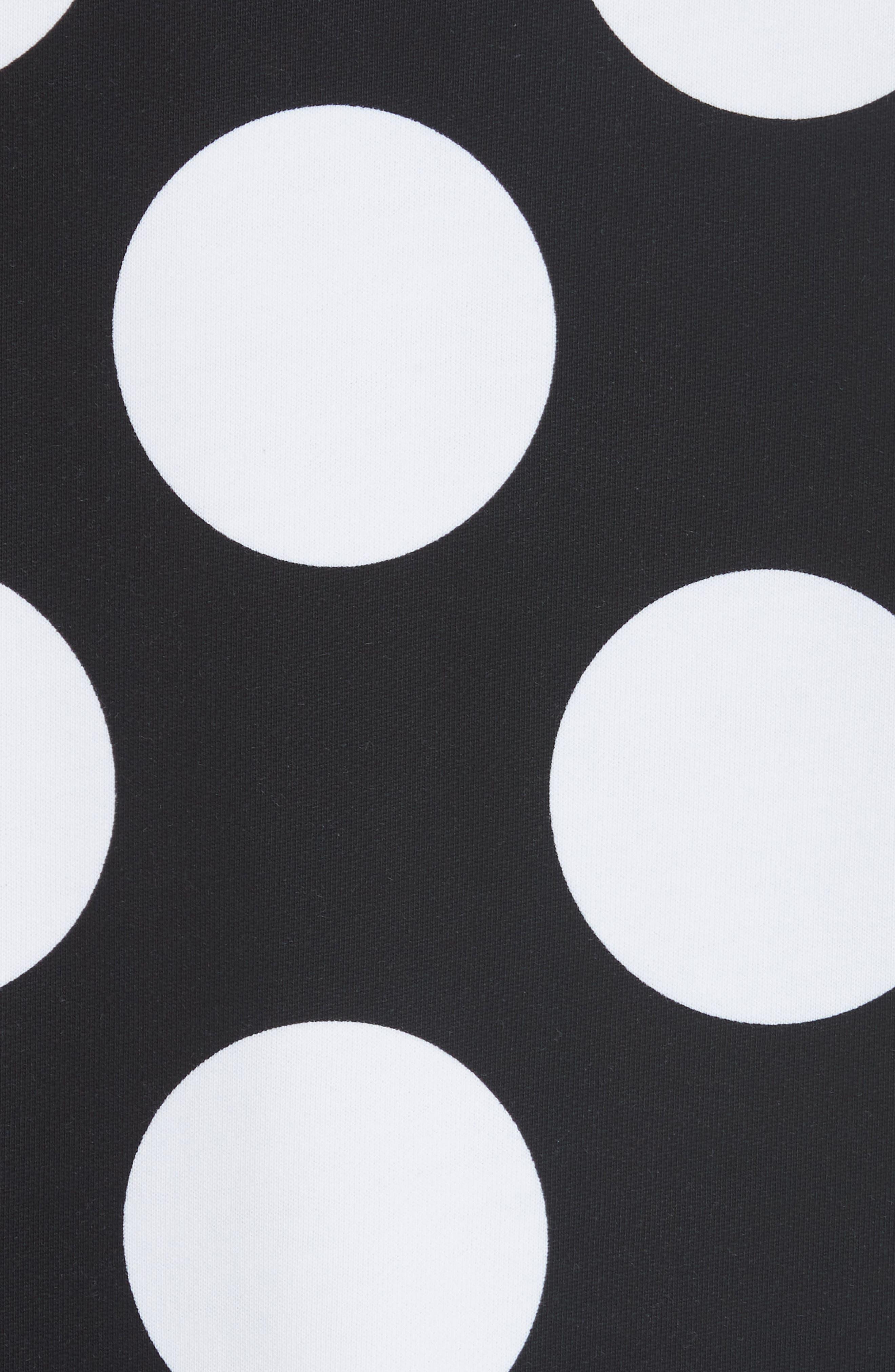 Polka Dot Print Sweatshirt,                             Alternate thumbnail 5, color,                             BLACK/ WHITE