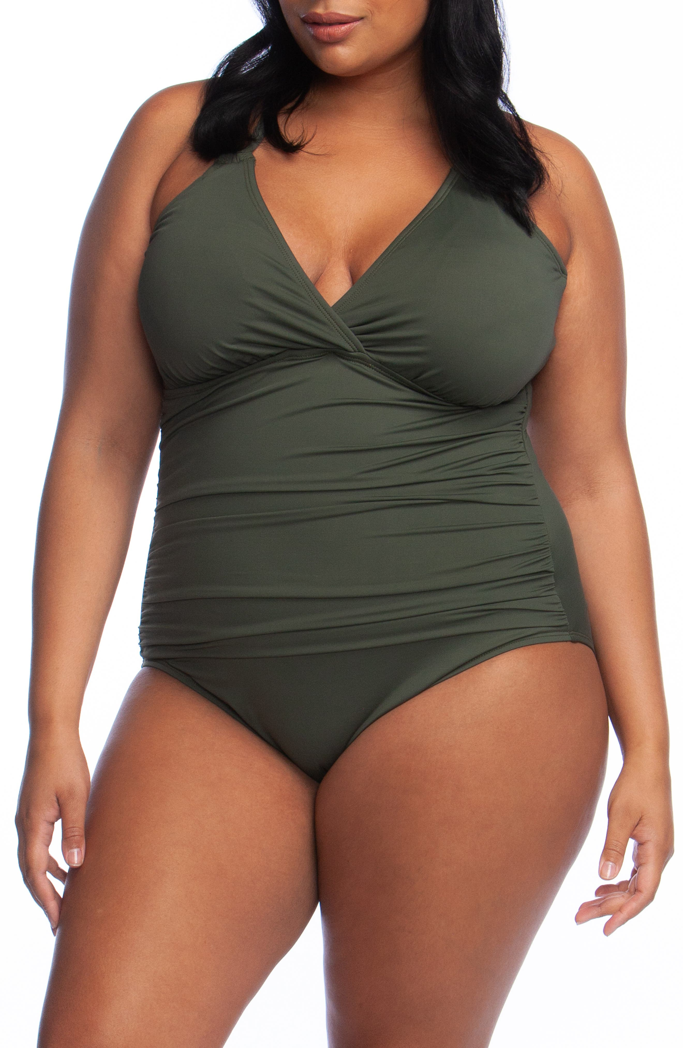 Plus Size La Blanca Surplice One-Piece Swimsuit, Green