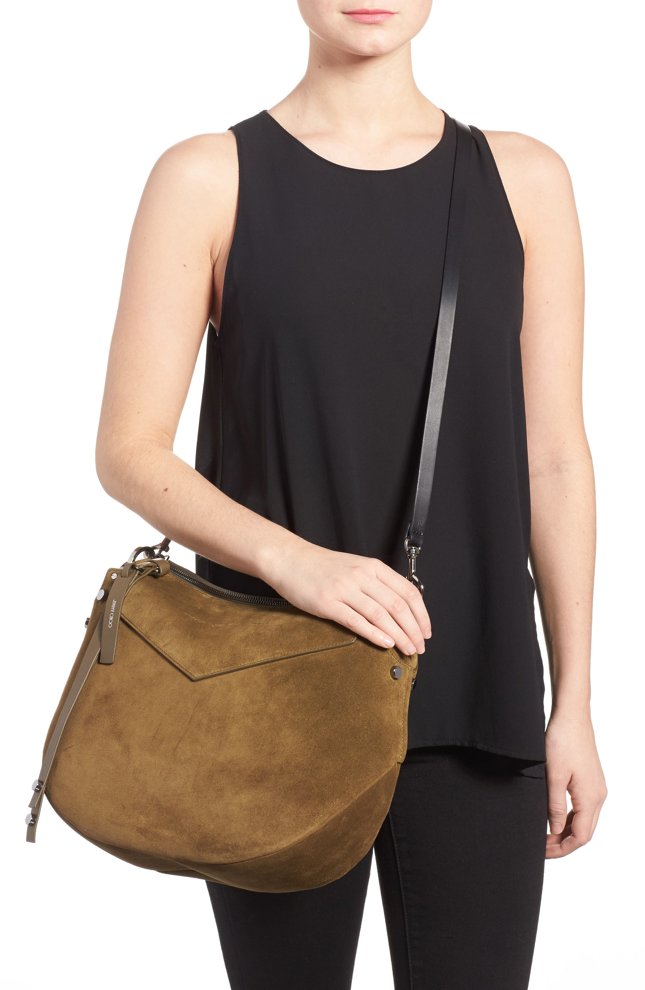 Artie Suede Hobo Bag,                             Alternate thumbnail 4, color,