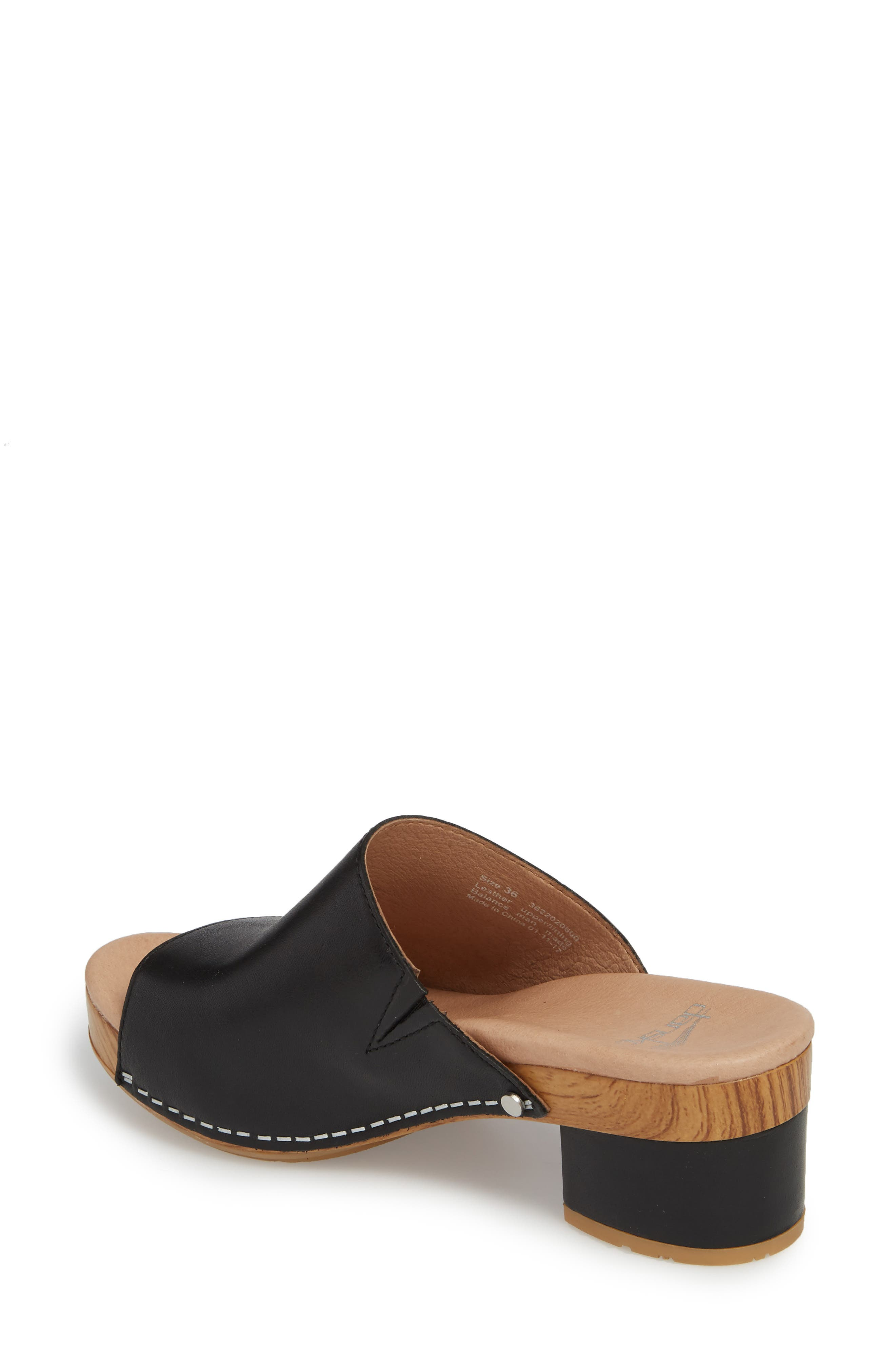 Maci Mule Sandal,                             Alternate thumbnail 2, color,                             BLACK LEATHER