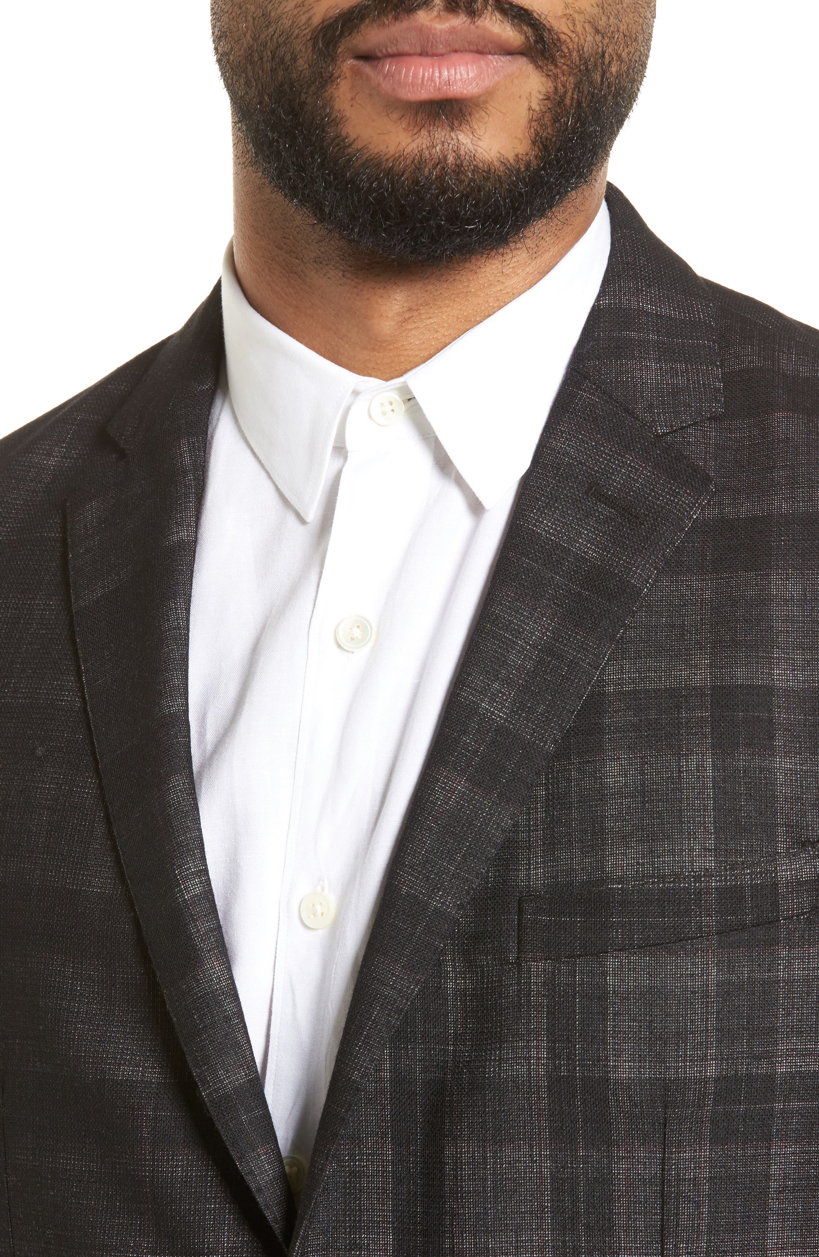 Delaria Plaid Wool Blend Jacket,                             Alternate thumbnail 4, color,                             001
