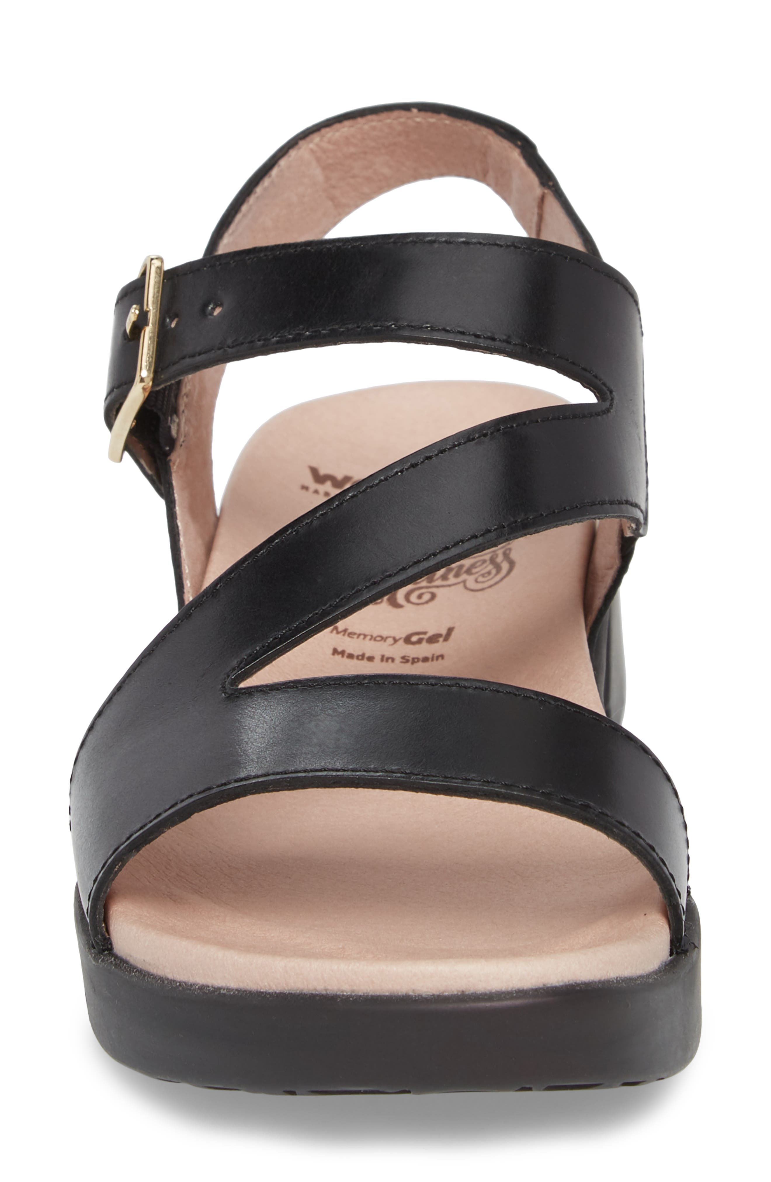 Platform Wedge Sandal,                             Alternate thumbnail 4, color,                             BLACK LEATHER