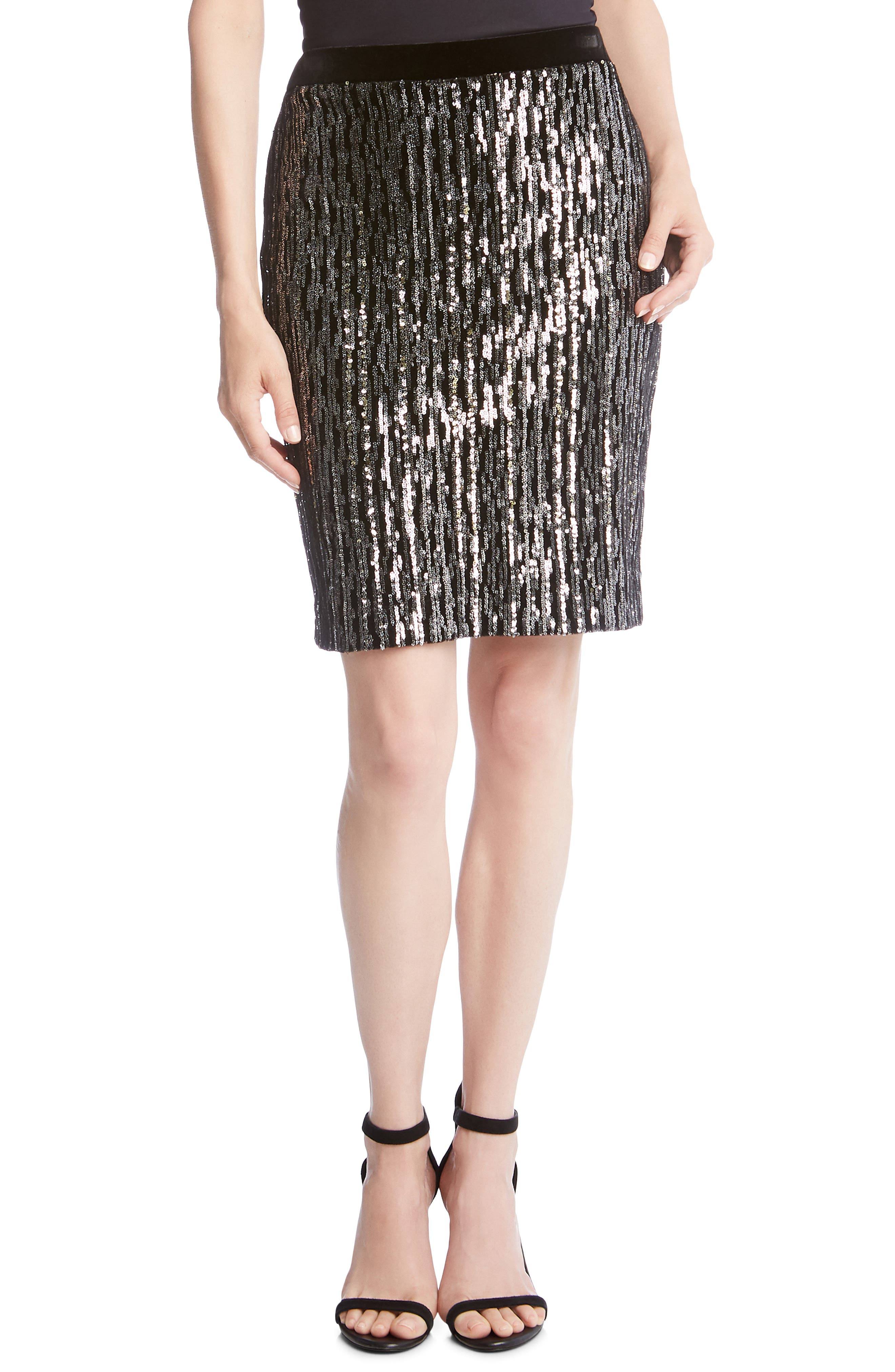 Sequin Pencil Skirt,                             Main thumbnail 1, color,                             BLACK WITH SILVER