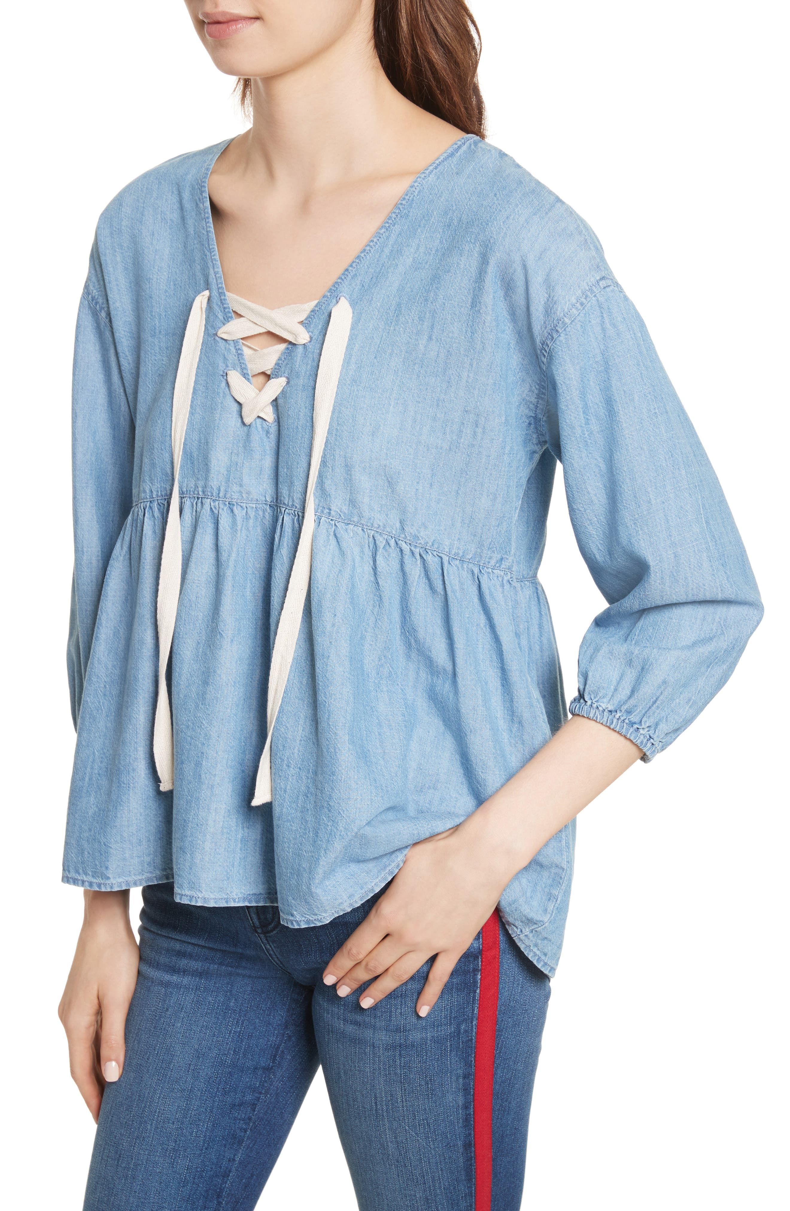 Bealette Lace-Up Chambray Top,                             Alternate thumbnail 4, color,                             481