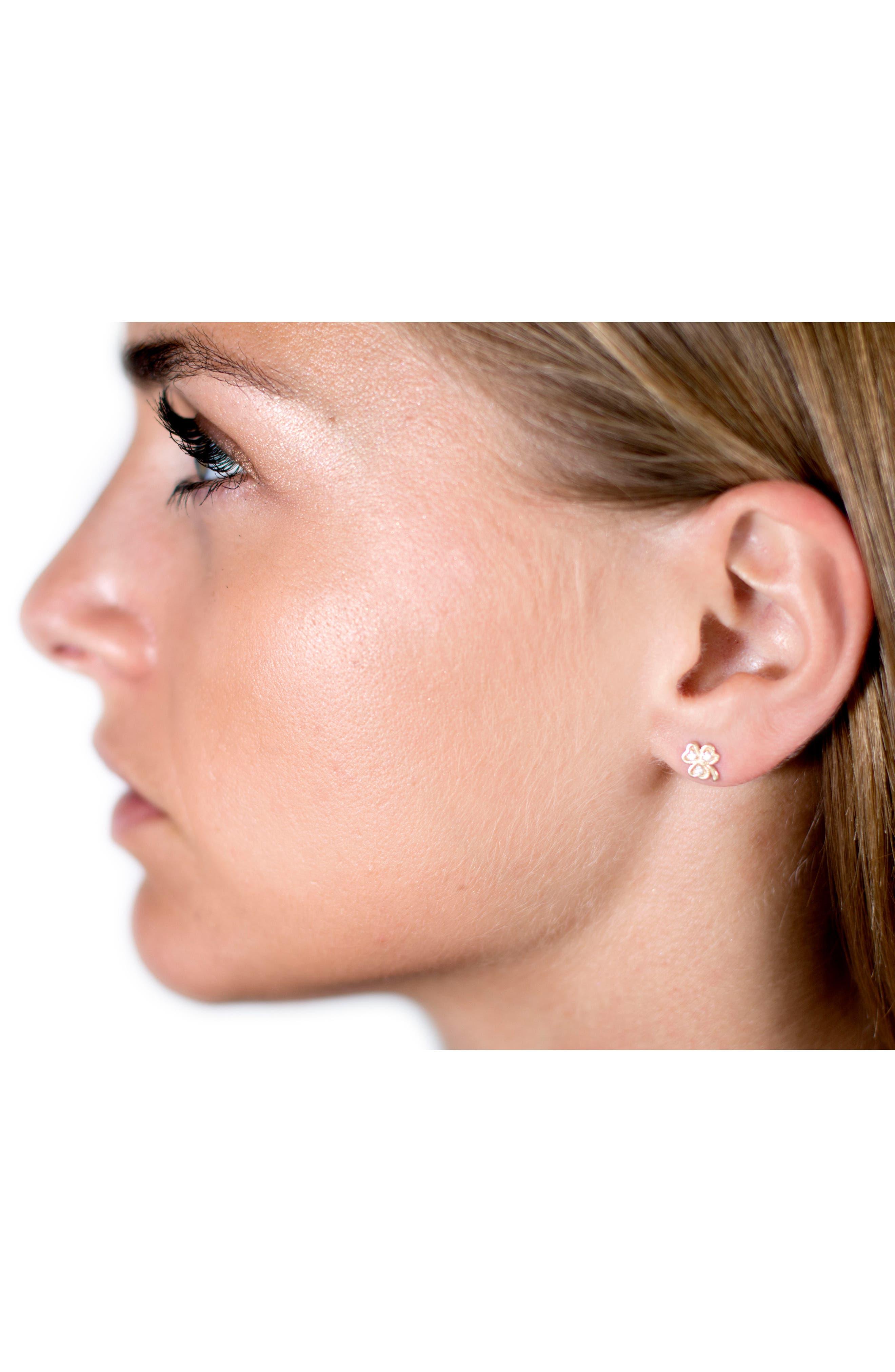 Diamond Icon Clover Earring,                             Alternate thumbnail 2, color,                             YELLOW GOLD