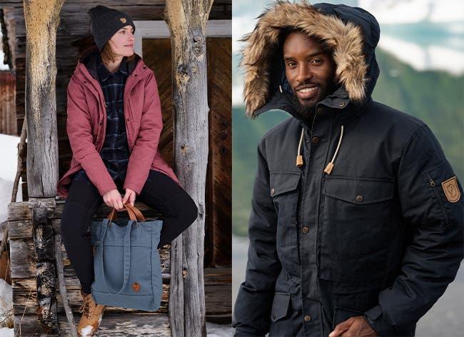 Models in Fjällräven fall and winter gear.