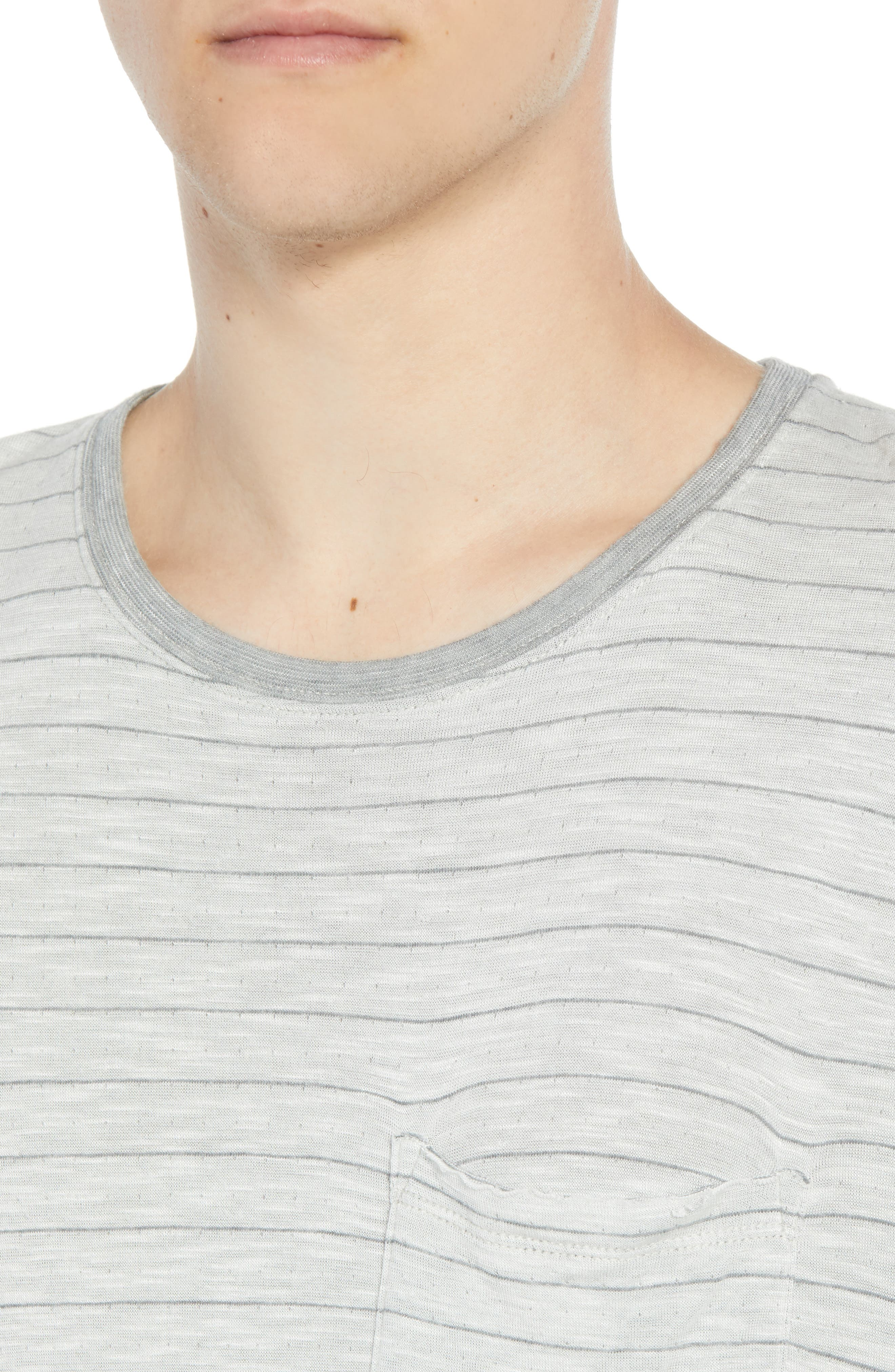 Slim Fit Stripe Slub Jersey T-Shirt,                             Alternate thumbnail 4, color,                             GREY STRIPE
