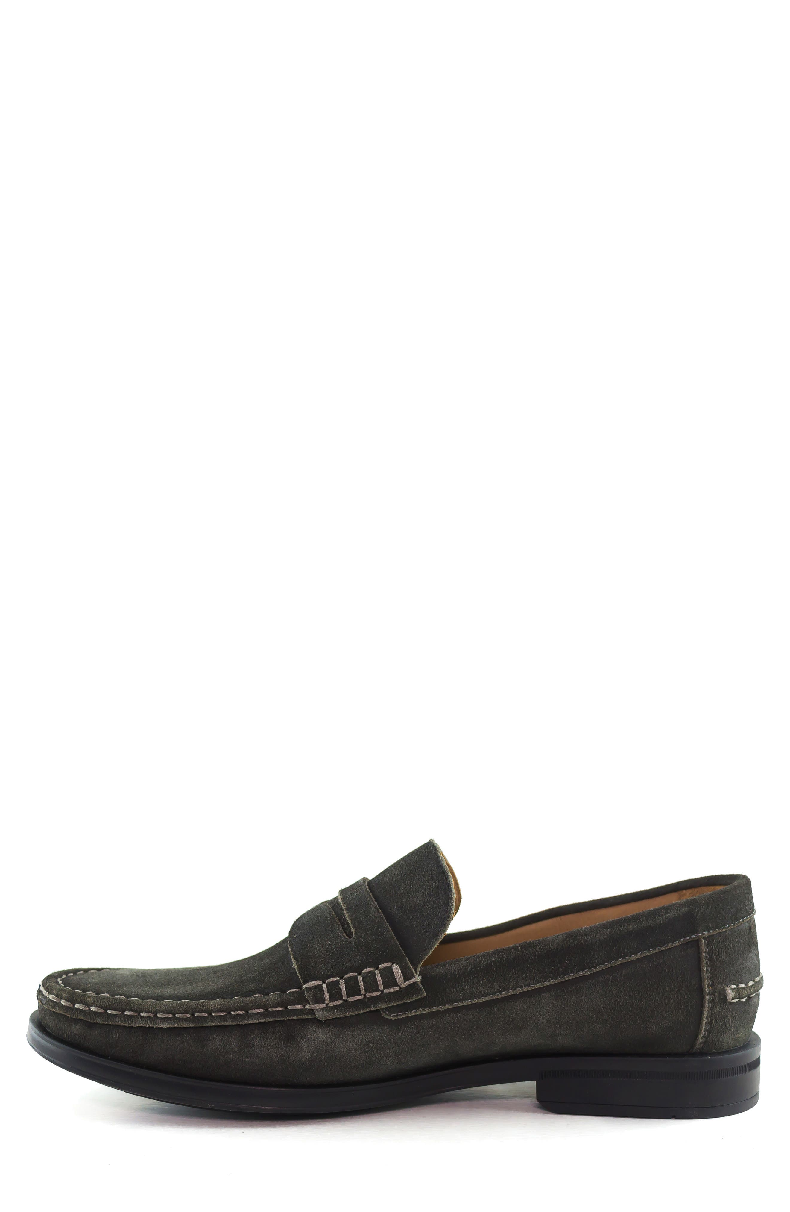 Cortland Penny Loafer,                             Alternate thumbnail 8, color,                             GRAPHITE LEATHER