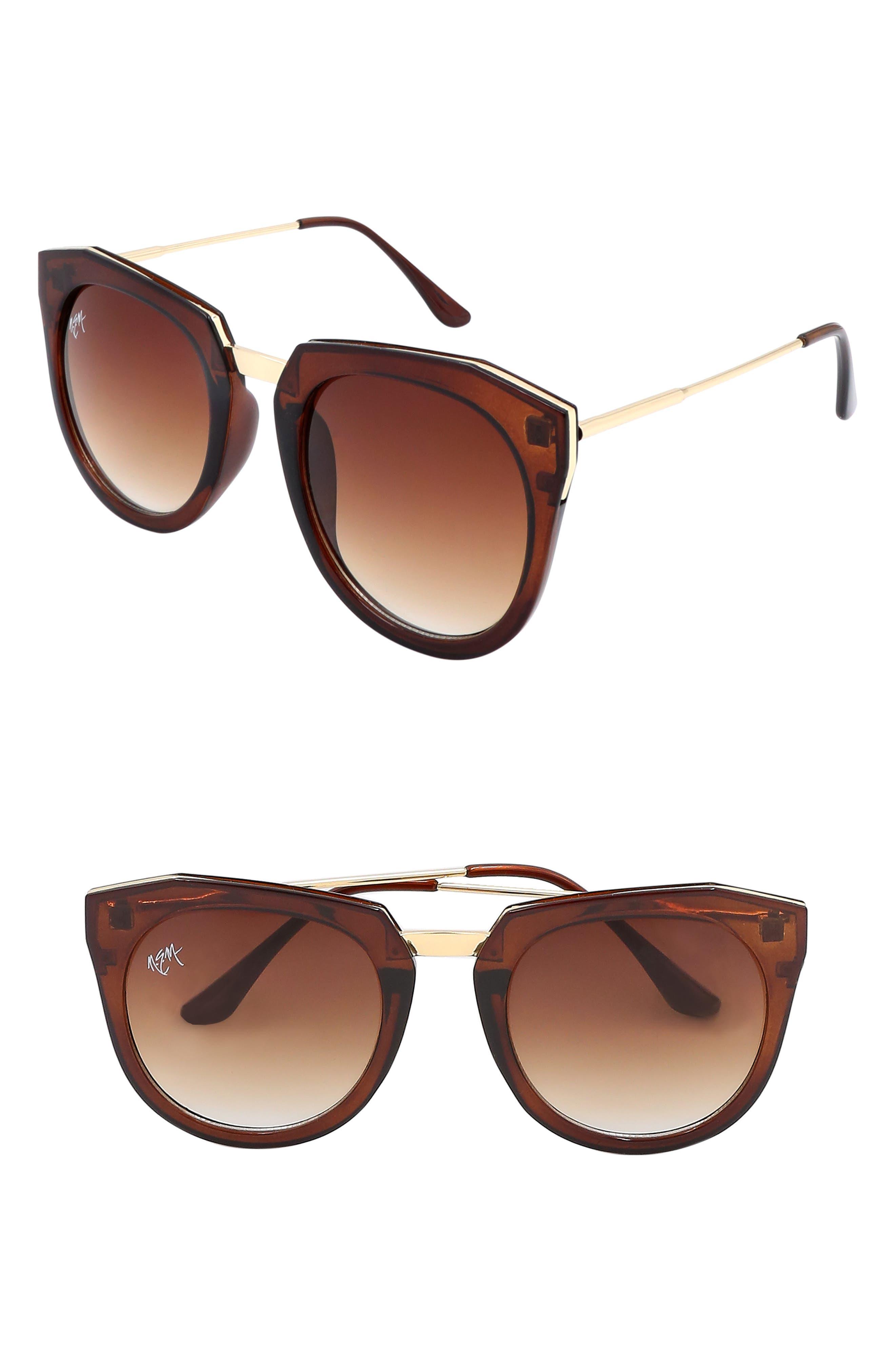 Nem Haute Line 55Mm Angular Sunglasses - Tortoise W Amber Lens