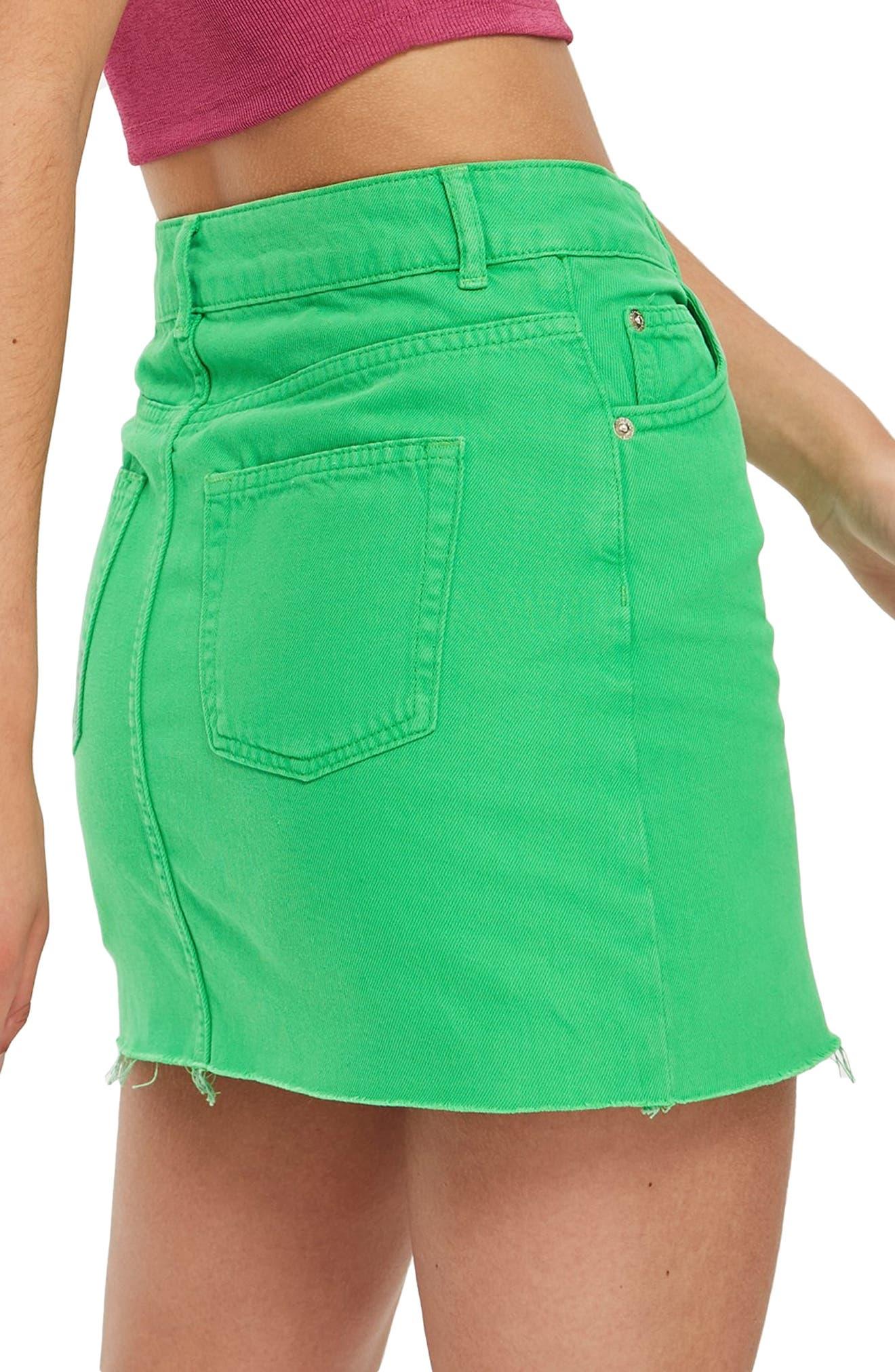 MOTO High Waist Denim Skirt,                             Alternate thumbnail 2, color,                             320