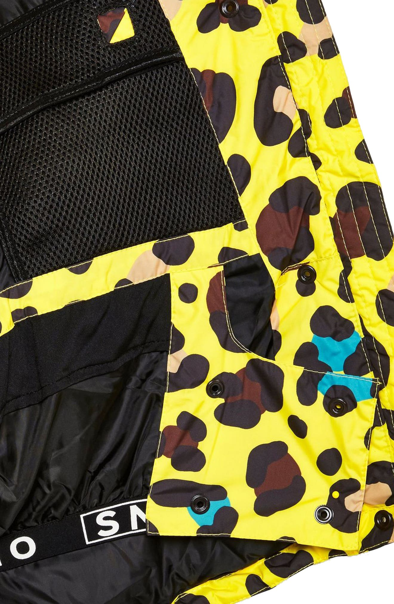 Piper Water Repellent Leopard Print Jacket & Mittens Set,                             Alternate thumbnail 3, color,                             YELLOW