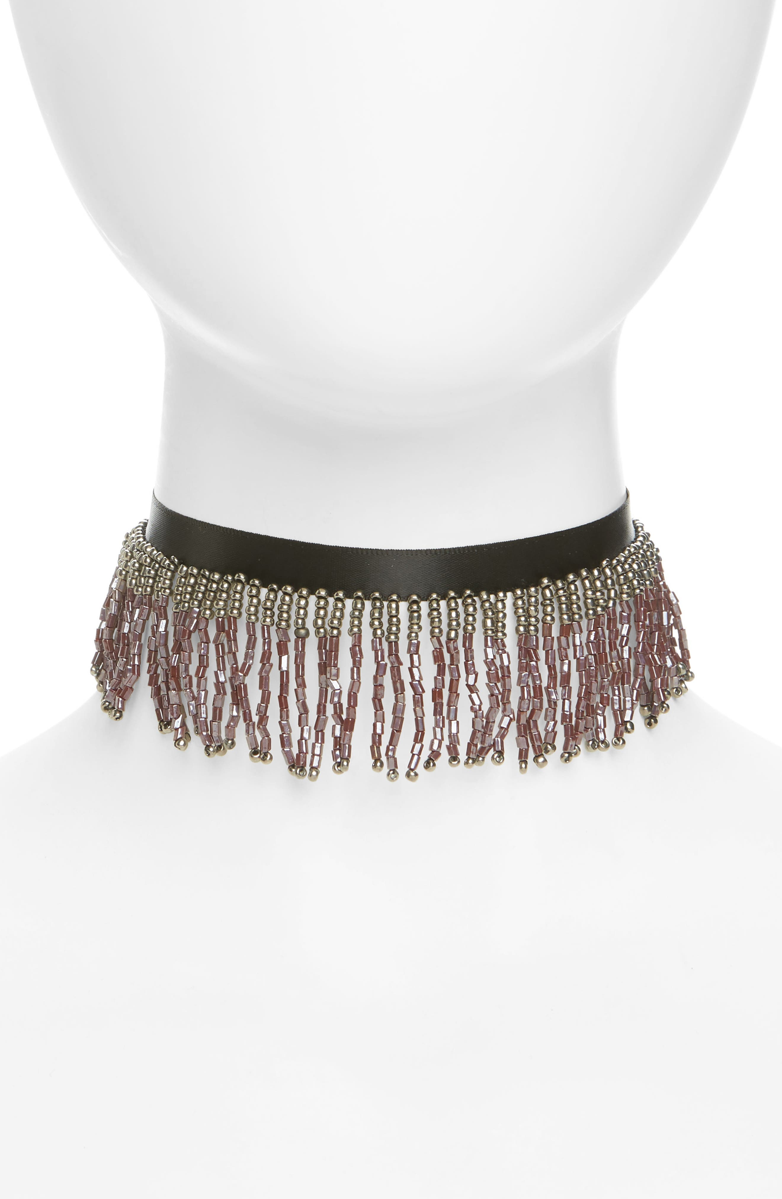 Bead Fringe Choker,                             Main thumbnail 1, color,                             001