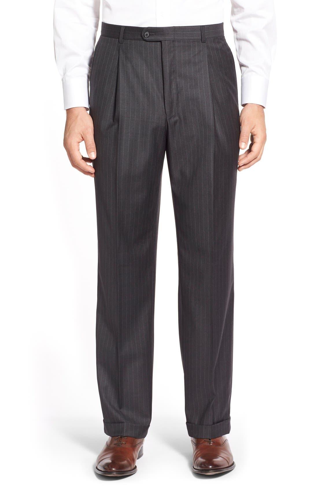 'Addison - A Series' Classic Fit Stripe Wool Suit,                             Alternate thumbnail 4, color,                             031
