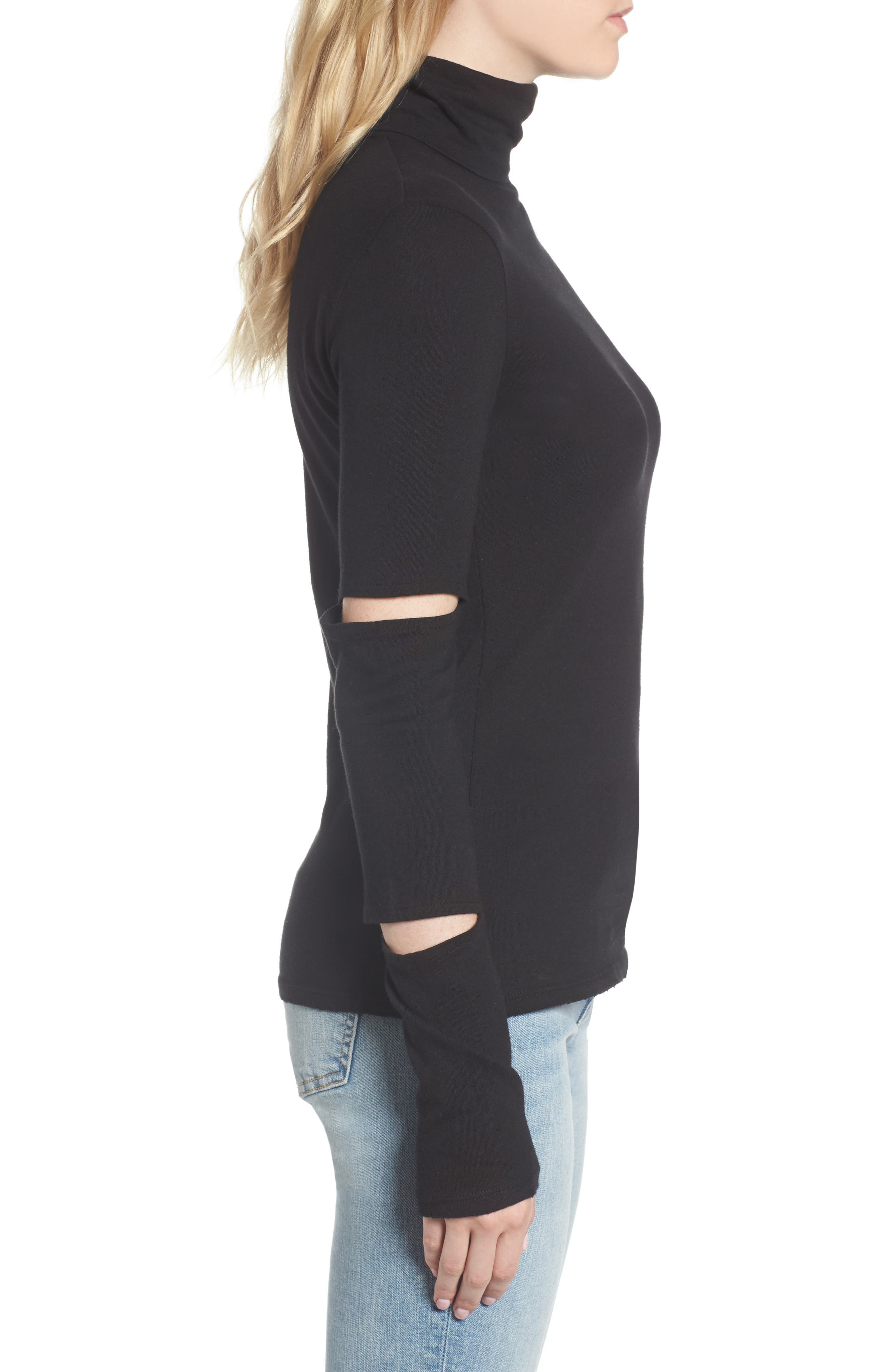 Easton Cutout Turtleneck,                             Alternate thumbnail 3, color,                             001