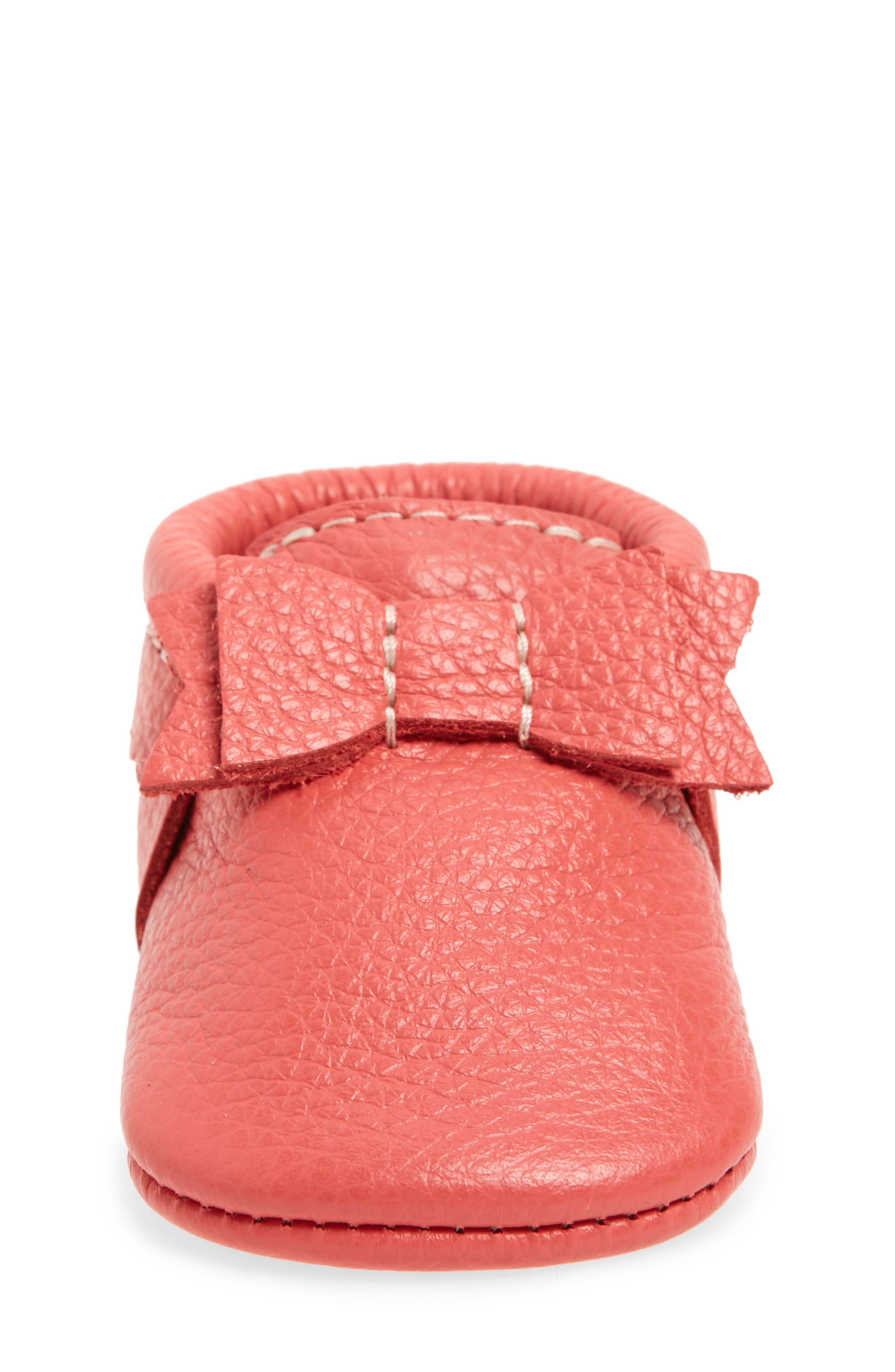 Metallic Bow Moccasin,                             Alternate thumbnail 4, color,                             PINK LEATHER