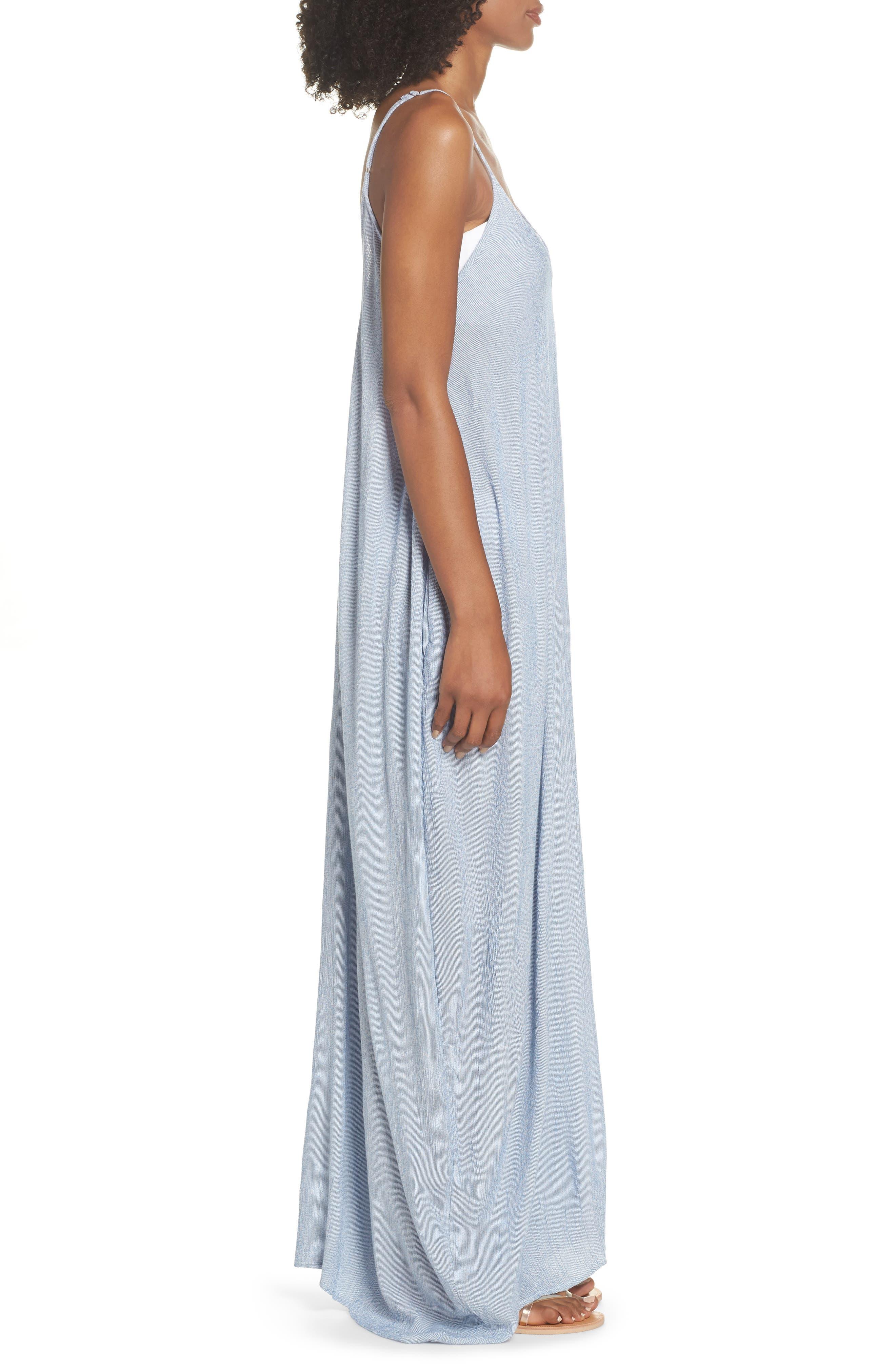 Cover-Up Maxi Dress,                             Alternate thumbnail 3, color,                             BLUE STRIPE