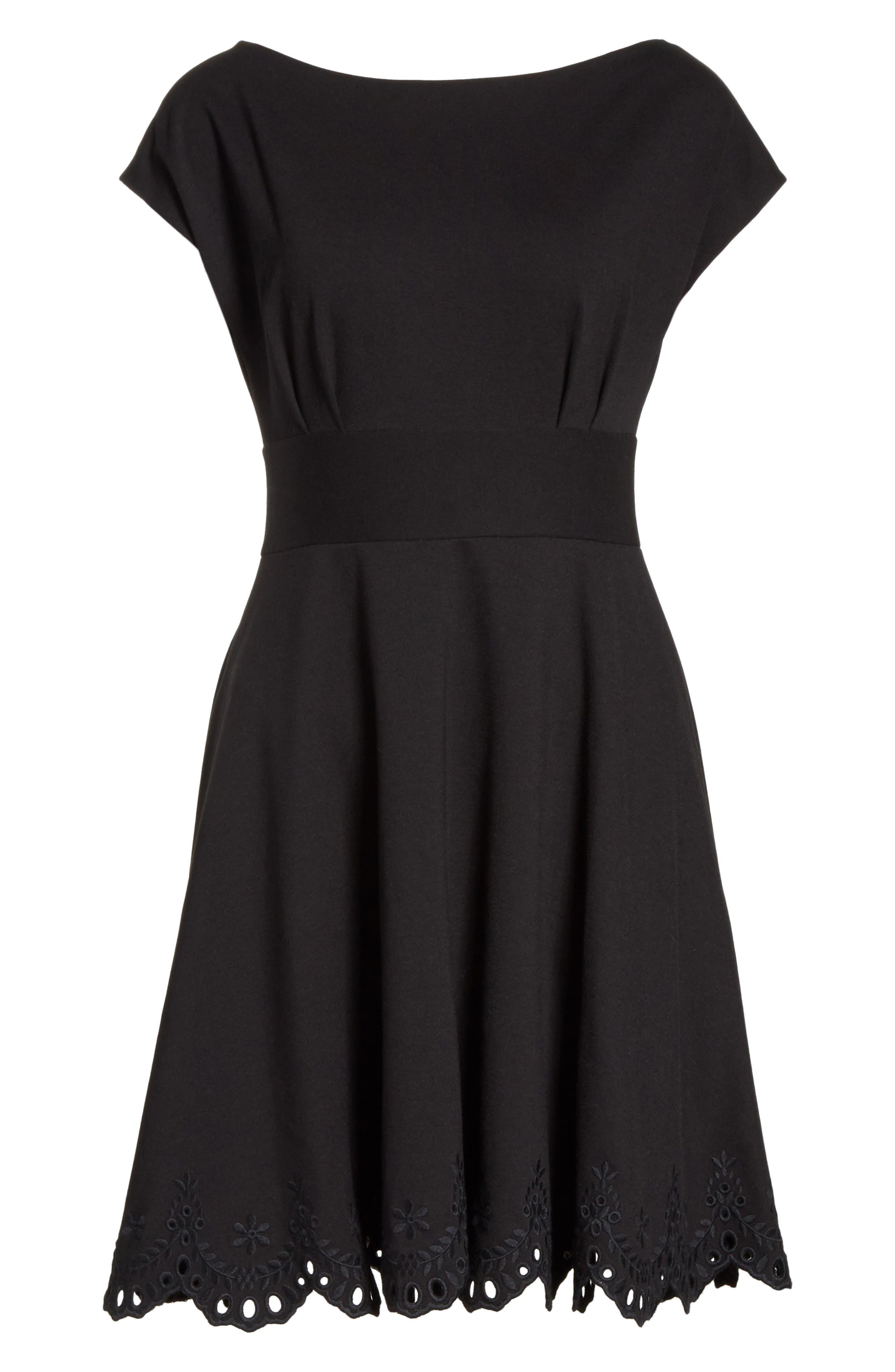 fiorella cutwork hem dress,                             Alternate thumbnail 6, color,                             001