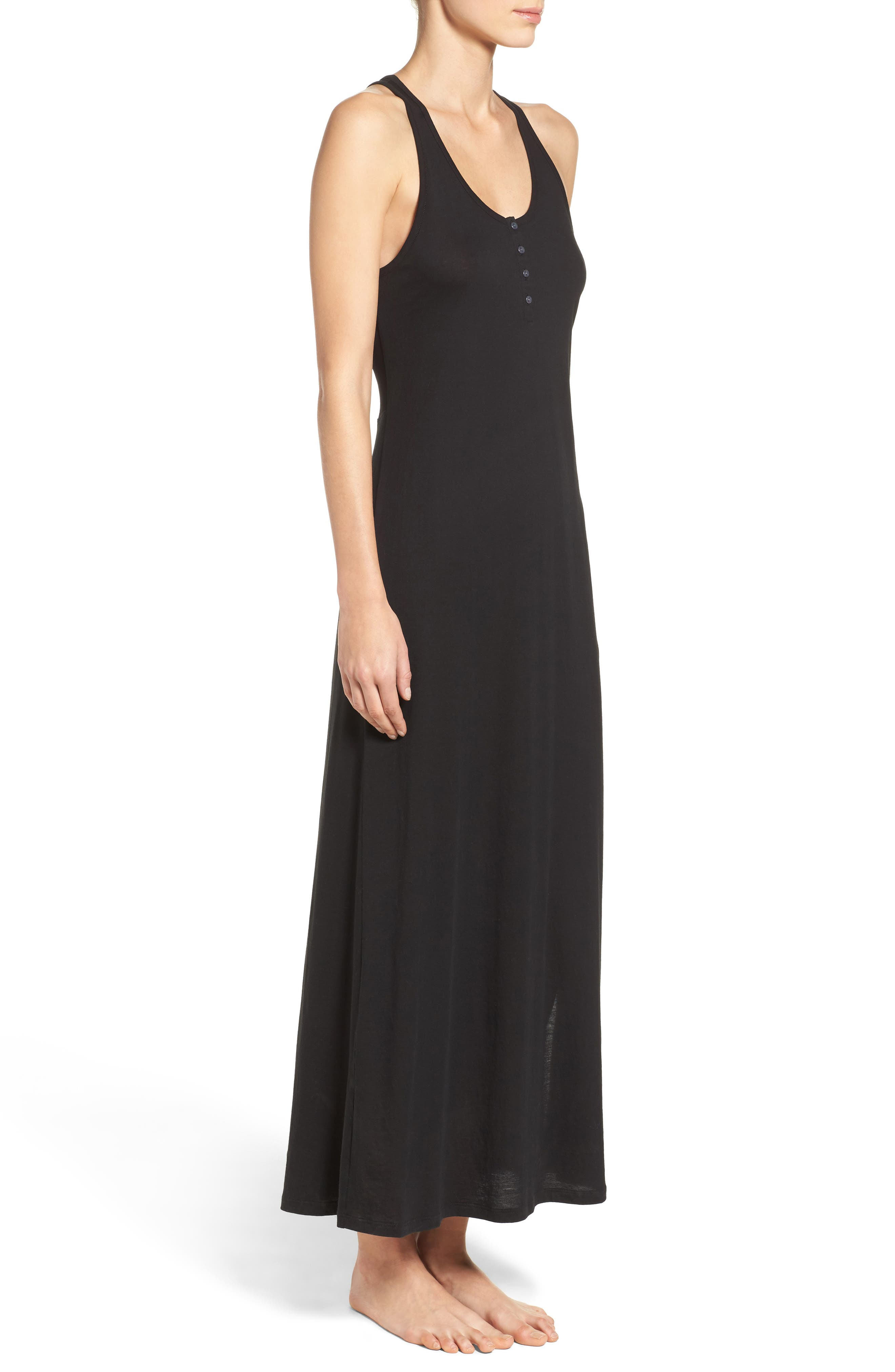 Henley Jersey Long Nightgown,                             Alternate thumbnail 3, color,                             001