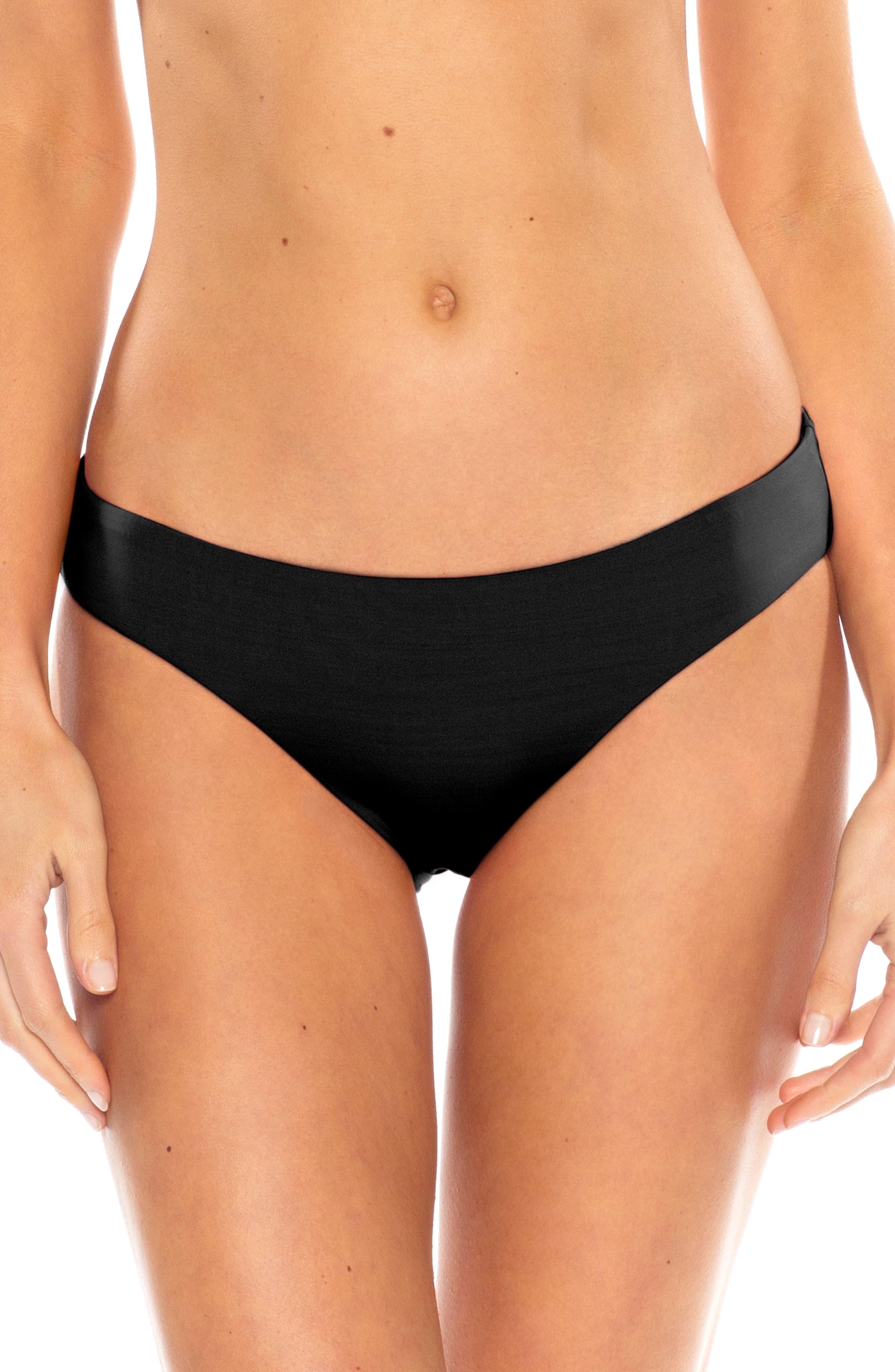 Becca Shirred Hipster Bikini Bottoms, Black