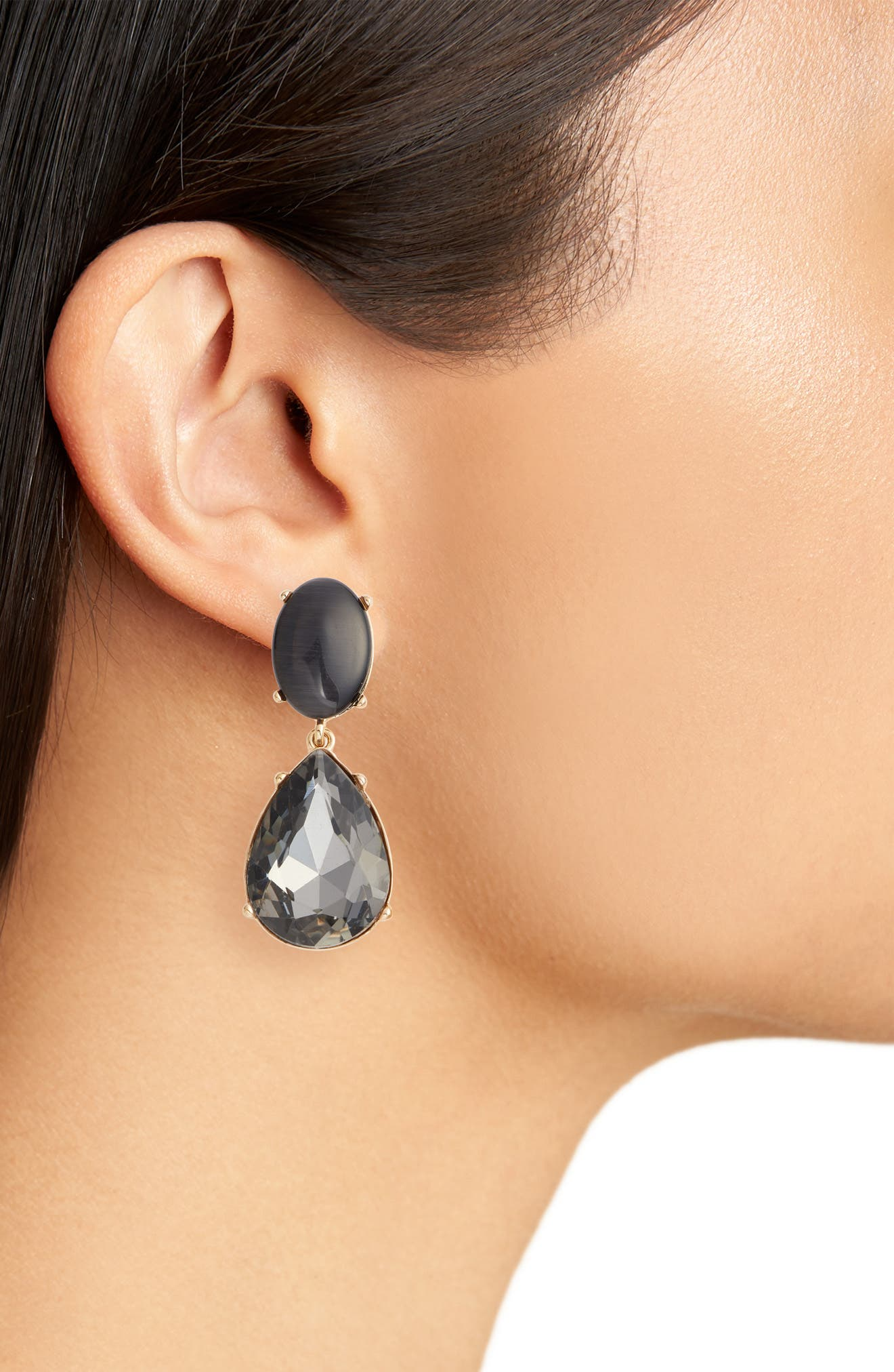 Gemstone Statement Double Drop Earrings,                             Alternate thumbnail 2, color,                             BLACK- GOLD
