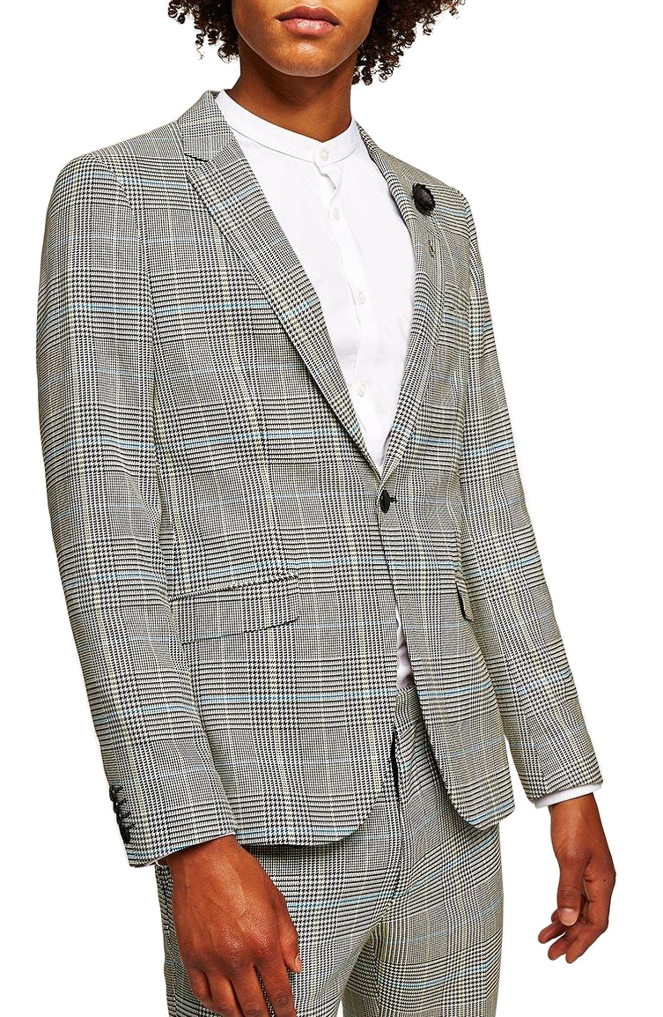 Skinny Fit Houndstooth Suit Jacket,                         Main,                         color, GREY MULTI