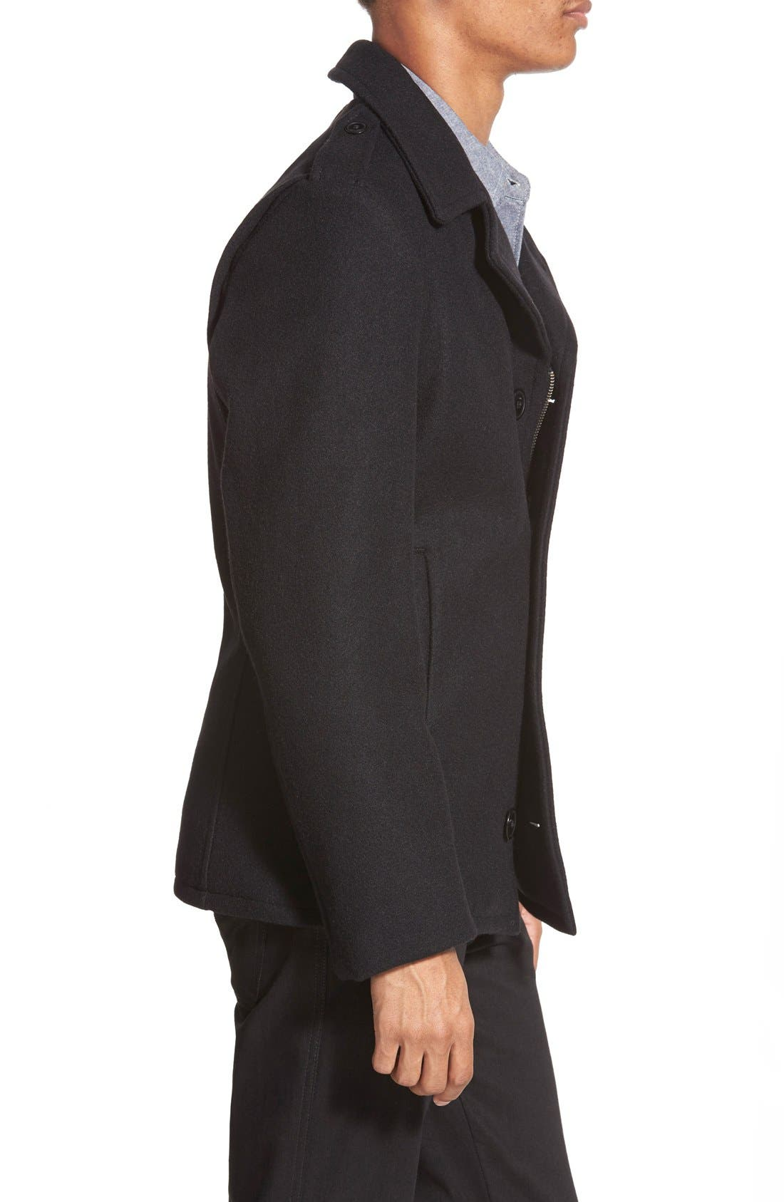 Slim Fit Wool Military Jacket,                             Alternate thumbnail 3, color,                             001