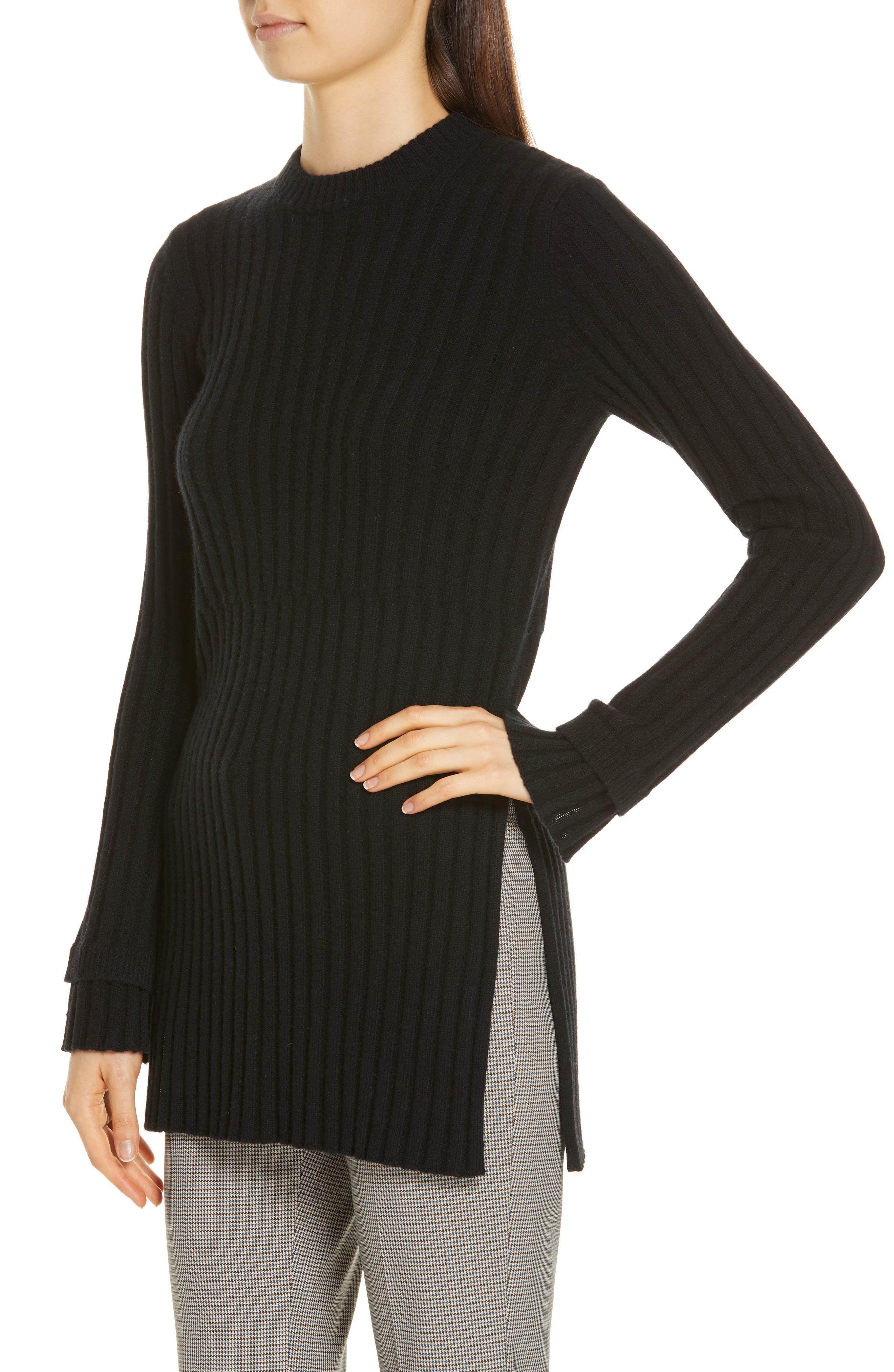 Rib Knit Cashmere Tunic,                             Alternate thumbnail 4, color,                             BLACK