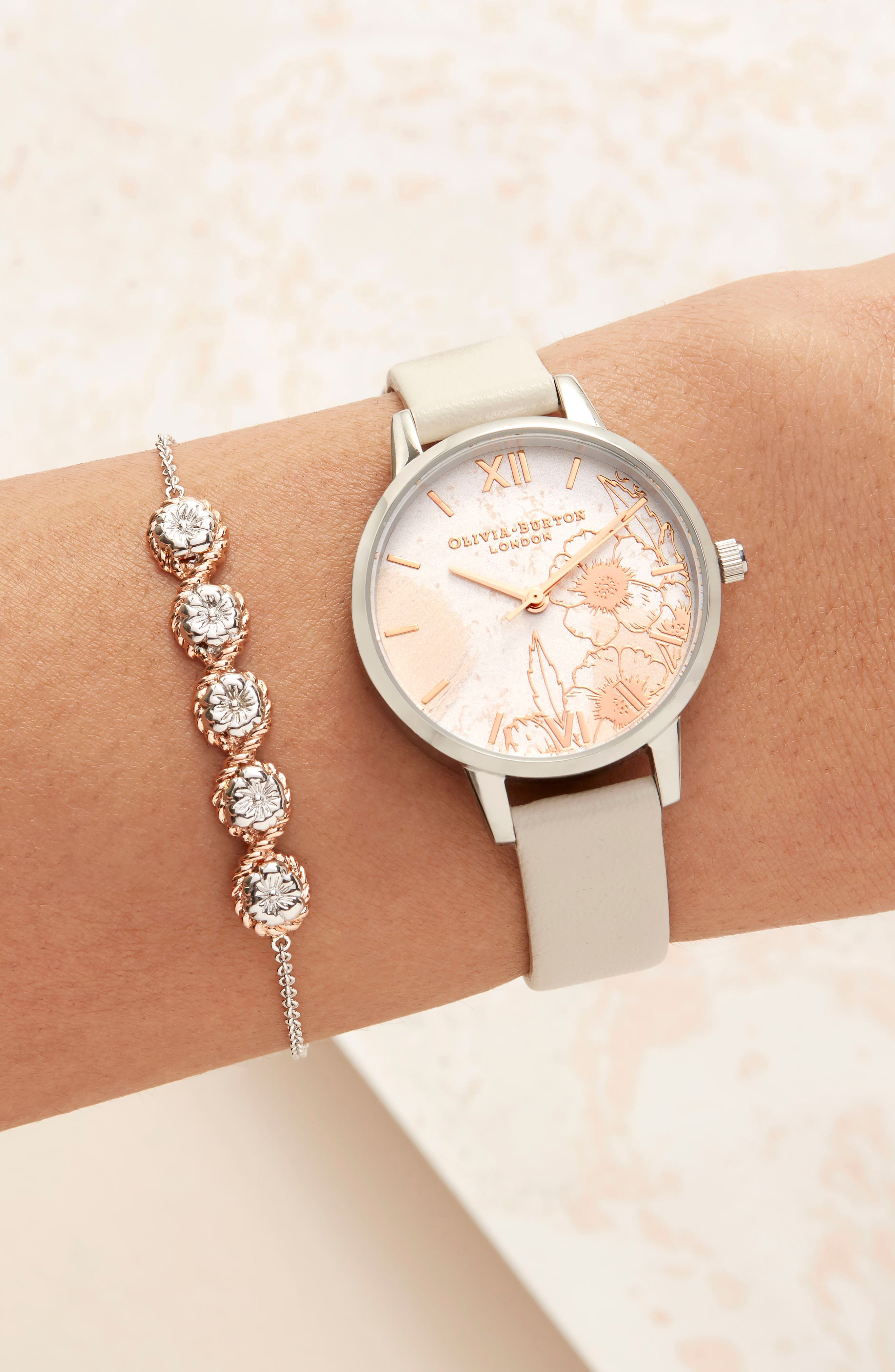 Abstract Floral Leather Strap Watch, 30mm,                             Alternate thumbnail 7, color,                             NUDE PEACH/ FLORAL/ SILVER