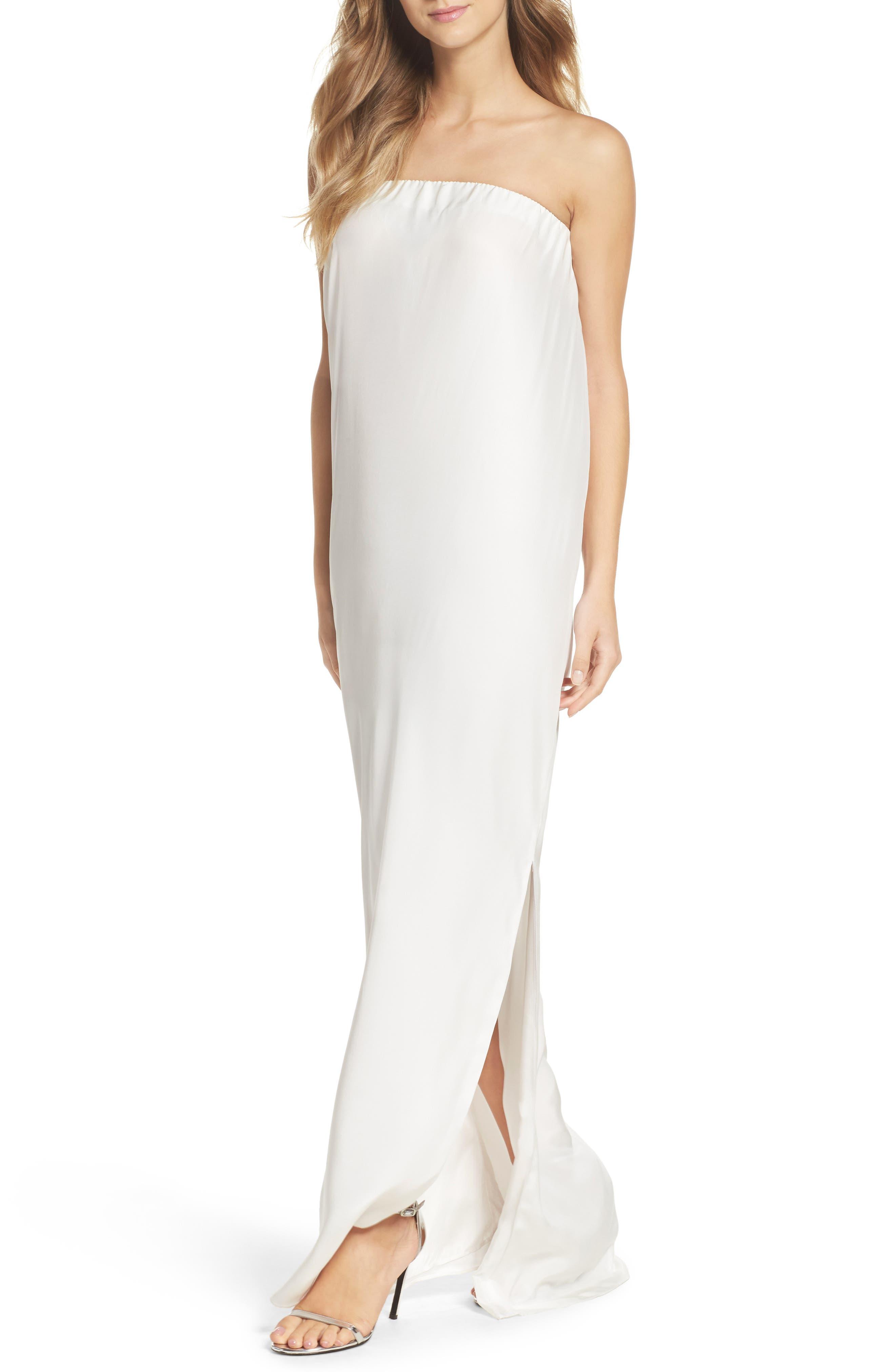 Strapless Silk Column Gown,                             Alternate thumbnail 4, color,                             100