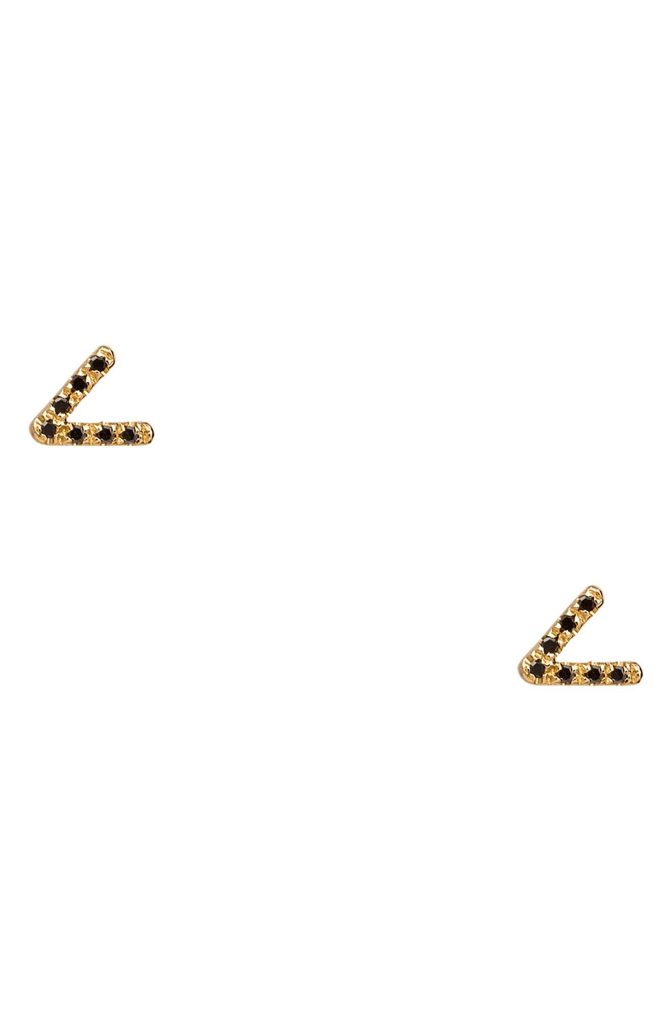 WWAKE Micropave Triangle Black Diamond Earrings in 14Kt Gold