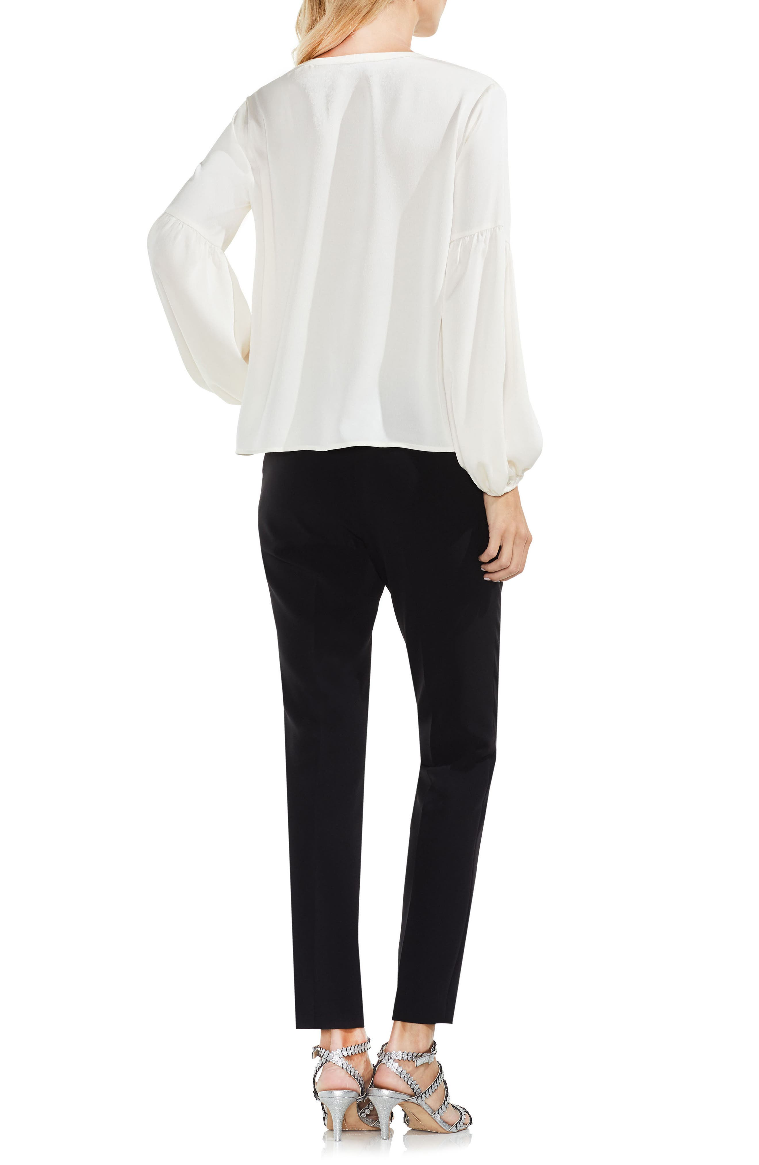 Lace-Up Hammered Satin Blouse,                             Alternate thumbnail 3, color,                             108
