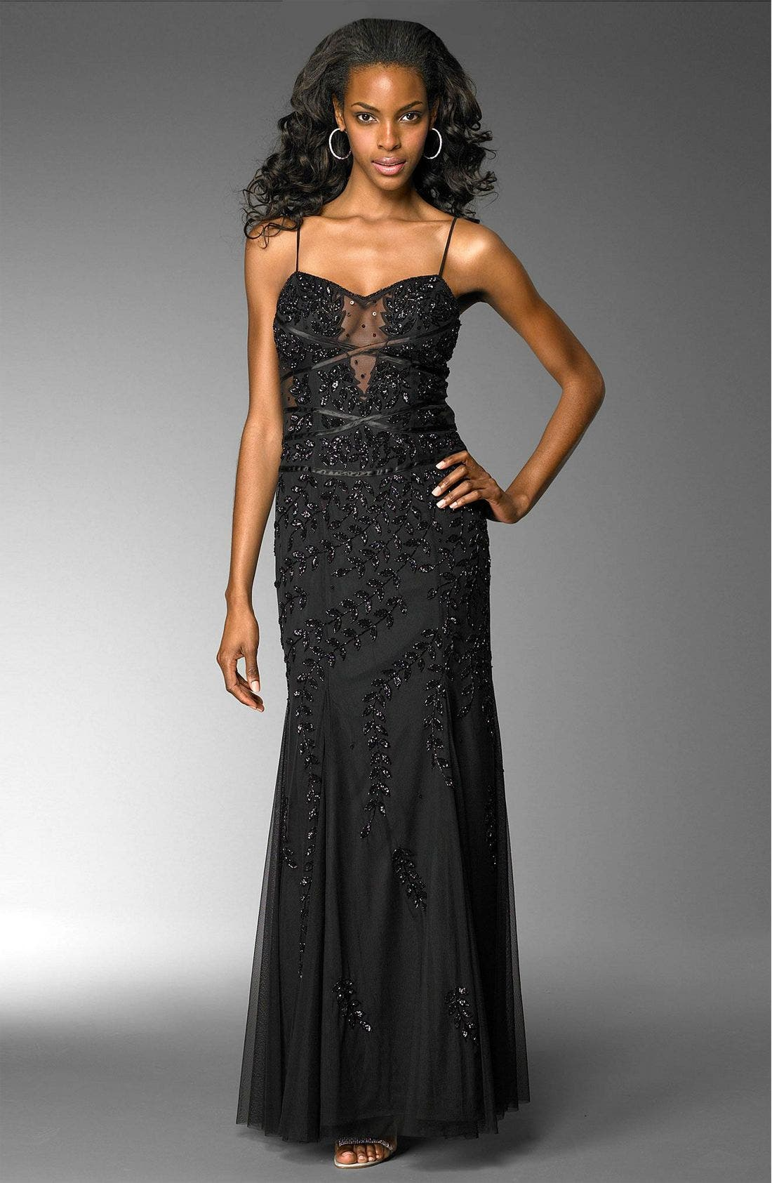 Beaded Illusion Inset Gown,                             Main thumbnail 1, color,                             BLK