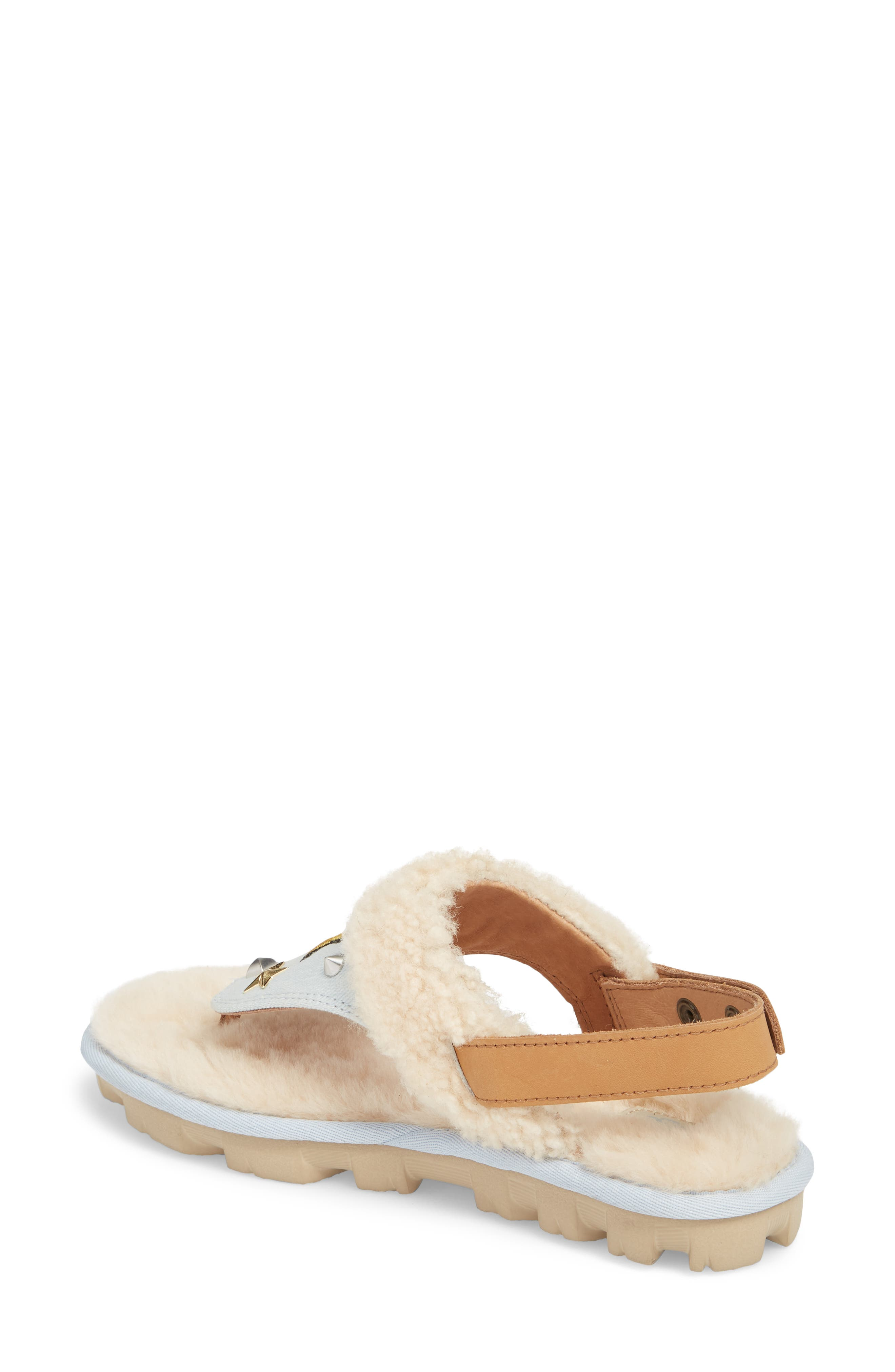 Patch It Slingback Sandal with Genuine Shearling Trim,                             Alternate thumbnail 2, color,                             BLEACH DENIM