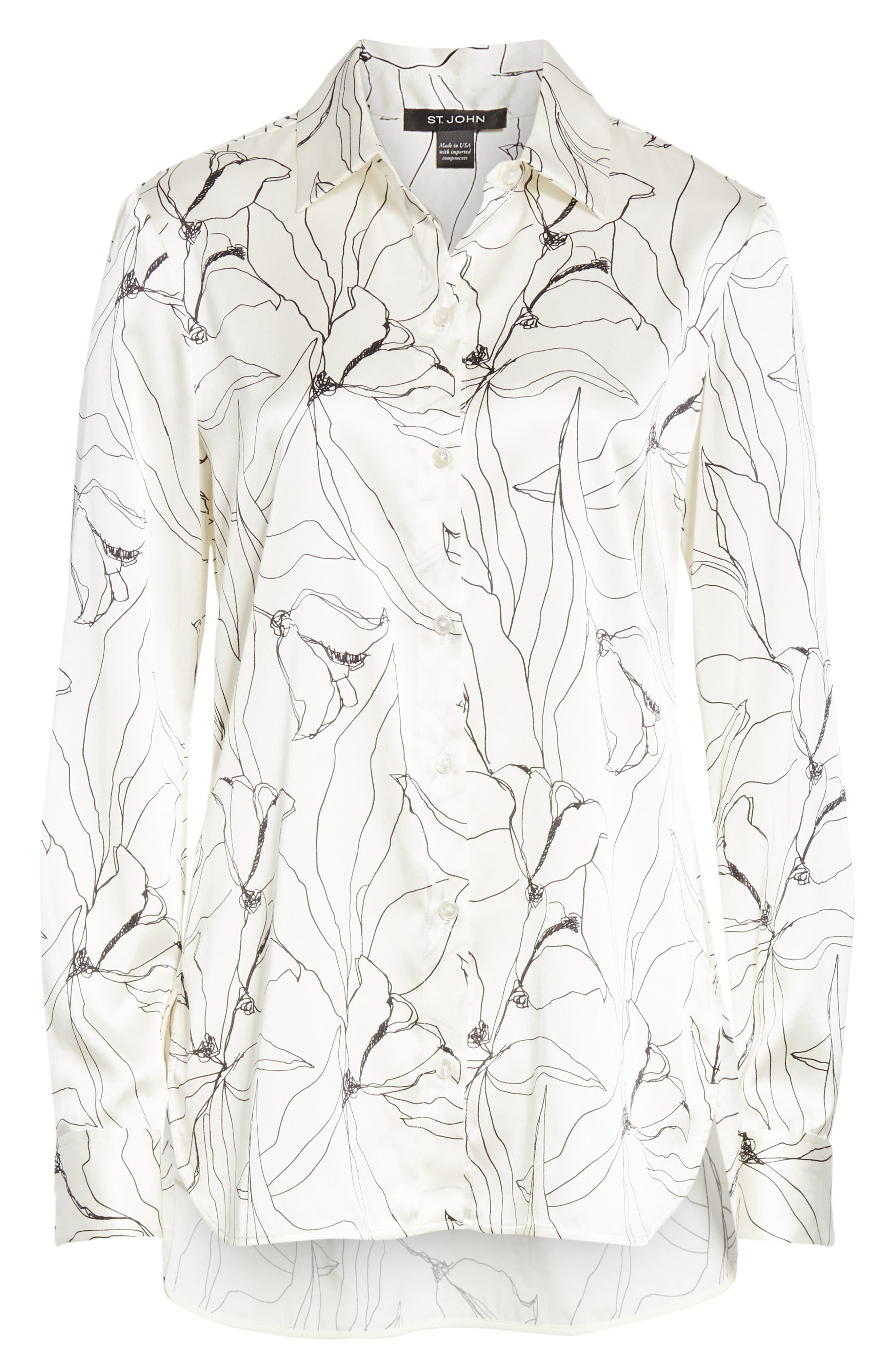 ST. JOHN COLLECTION,                             Artisanal Floral Stretch Silk Blouse,                             Alternate thumbnail 6, color,                             CREAM/ CAVIAR