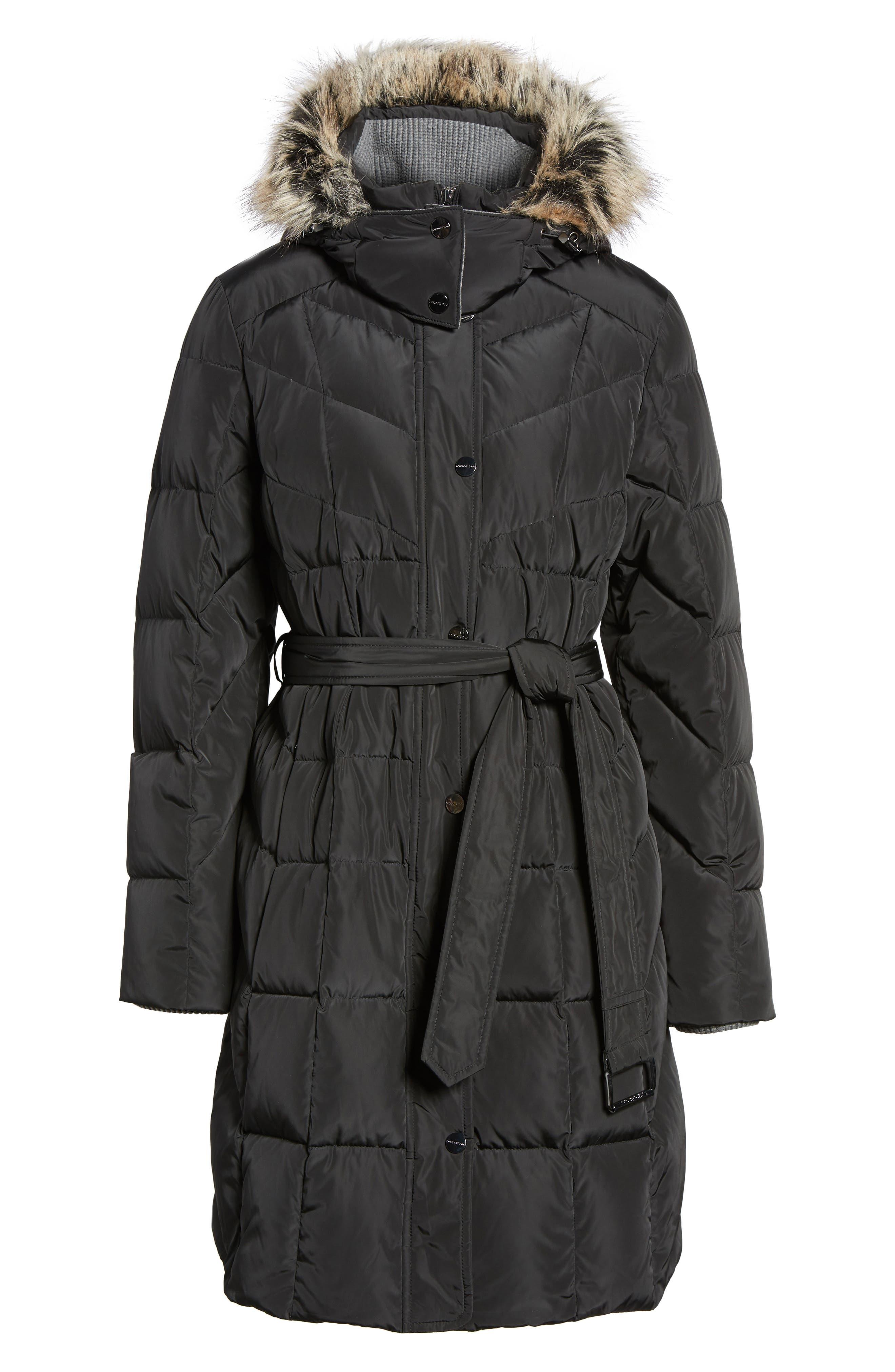 Down Coat with Faux Fur Trim,                             Alternate thumbnail 5, color,                             001