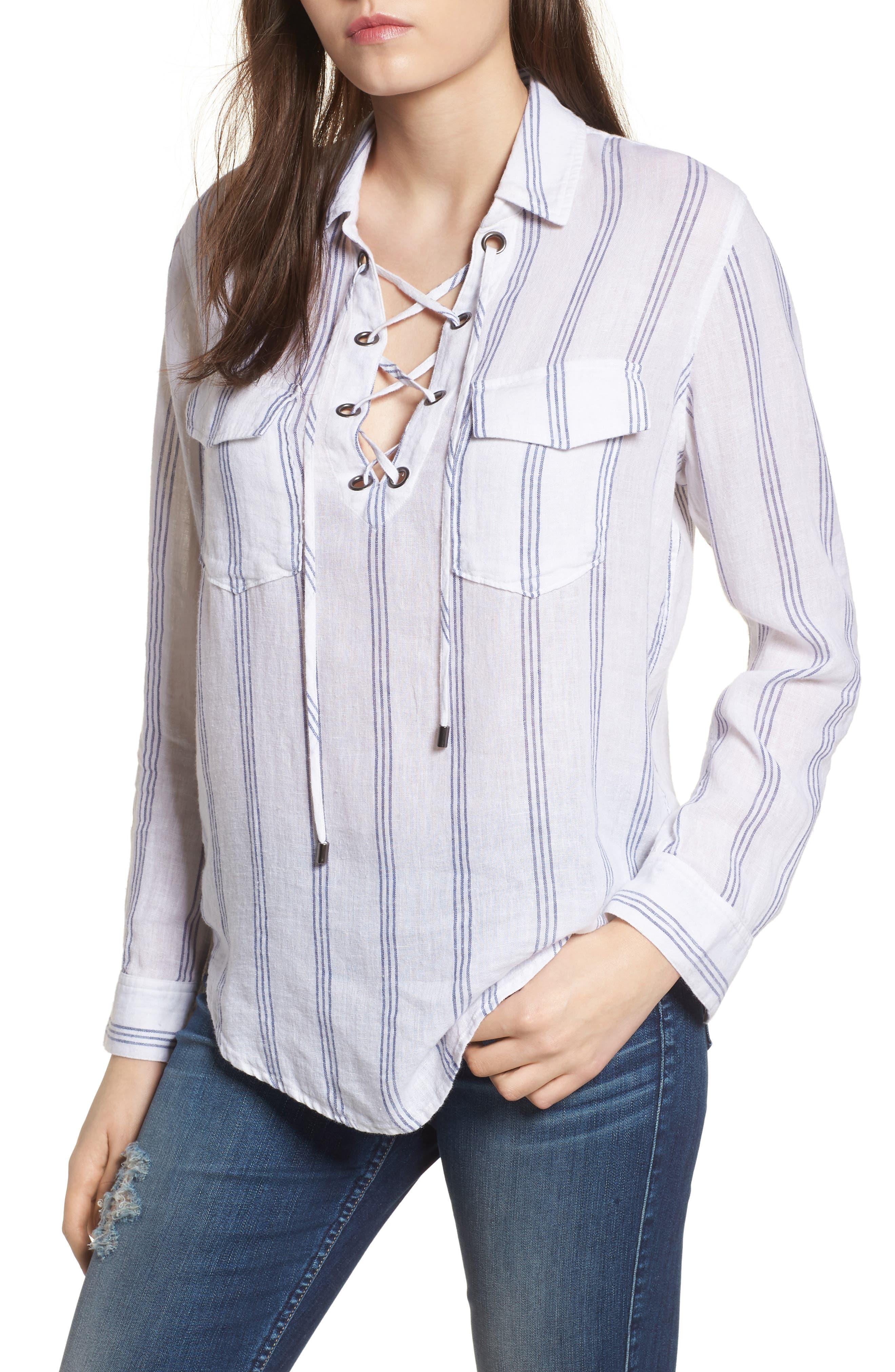 Matea Stripe Lace-Up Top, Main, color, 142