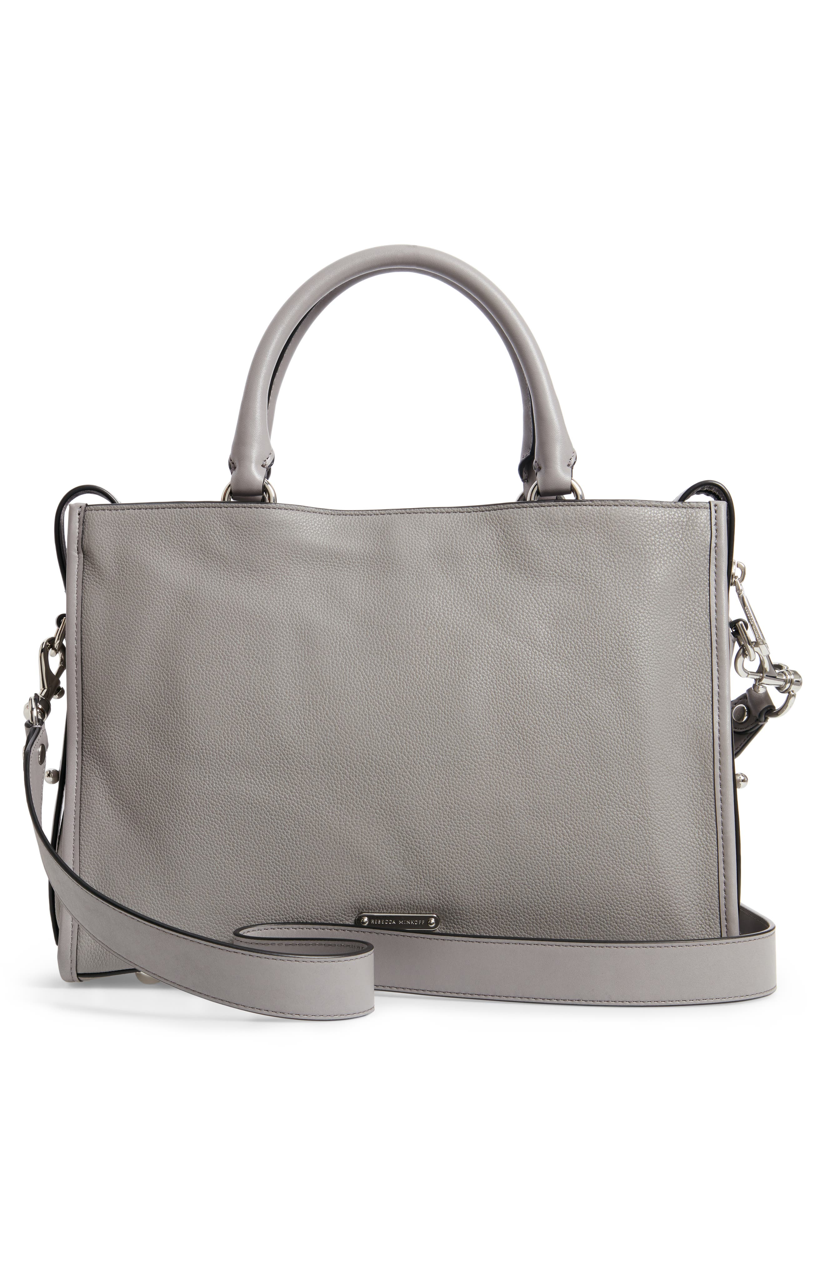 REBECCA MINKOFF,                             Bedford Zip Leather Satchel,                             Alternate thumbnail 3, color,                             GREY