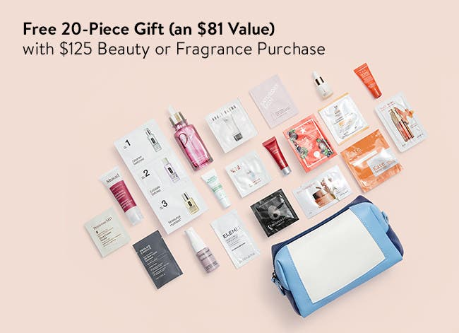 Free 20-piece gift with $125 beauty or fragrance purchase. An $81 value.