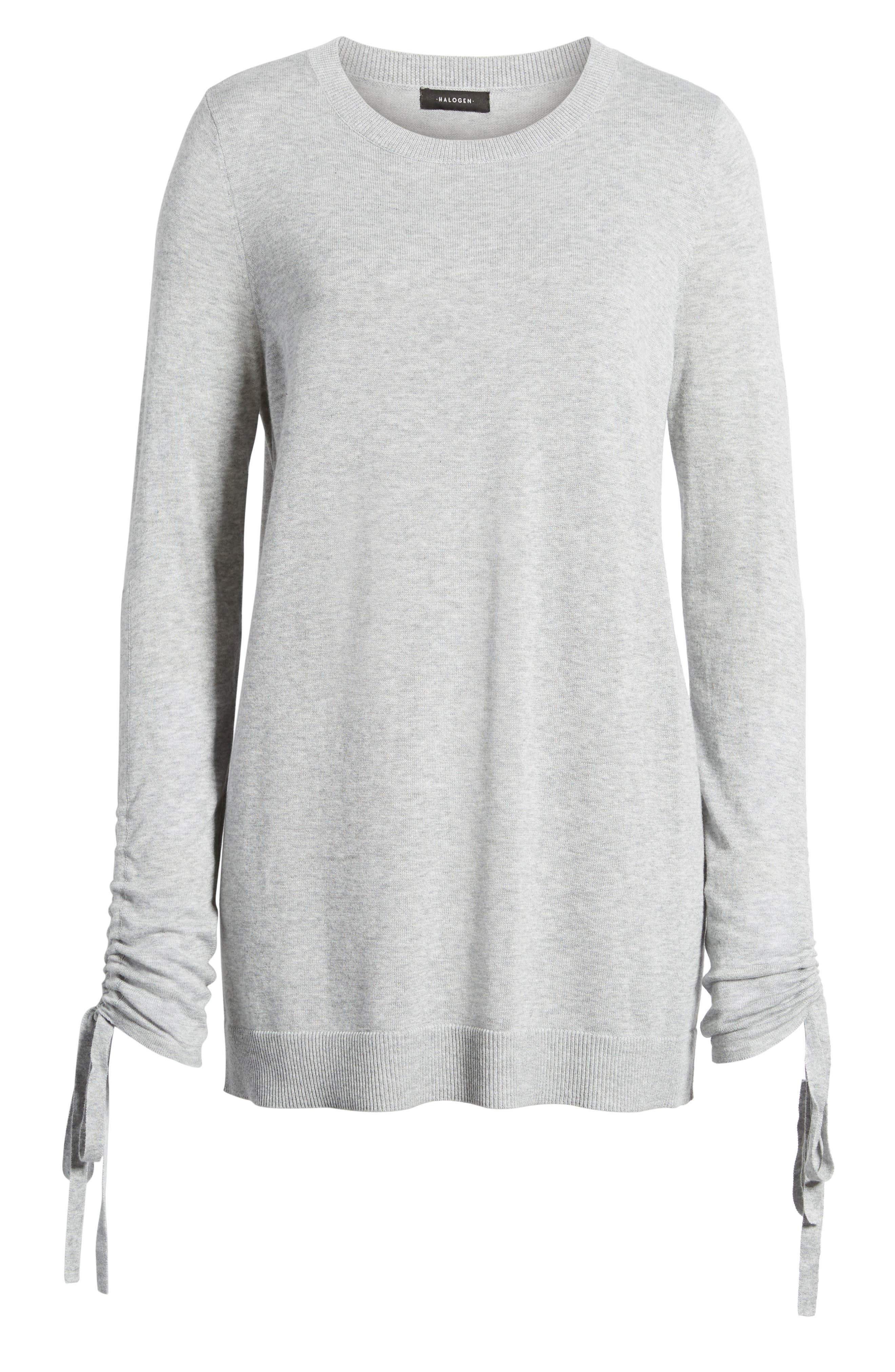 Ruched Sleeve Tunic Sweater,                             Alternate thumbnail 27, color,