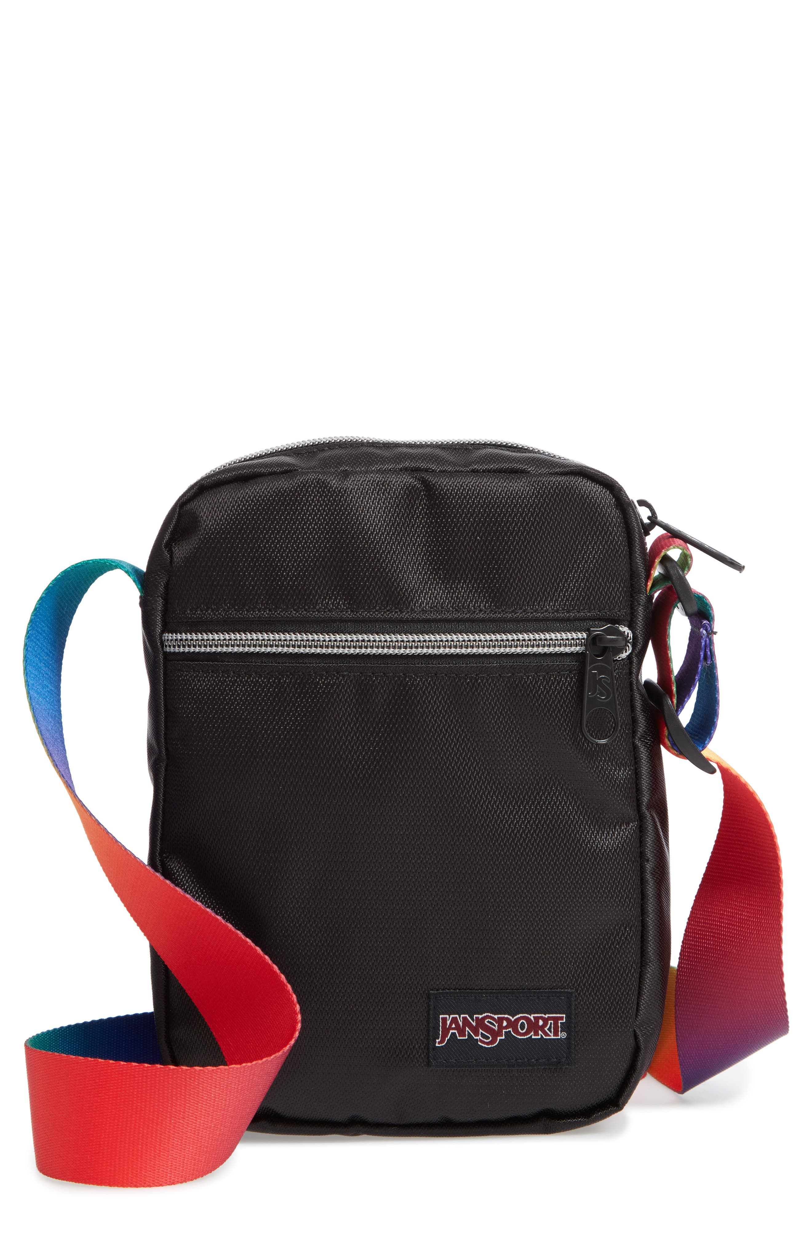 JANSPORT Fx Crossbody Bag - Black in Rainbow Webbing