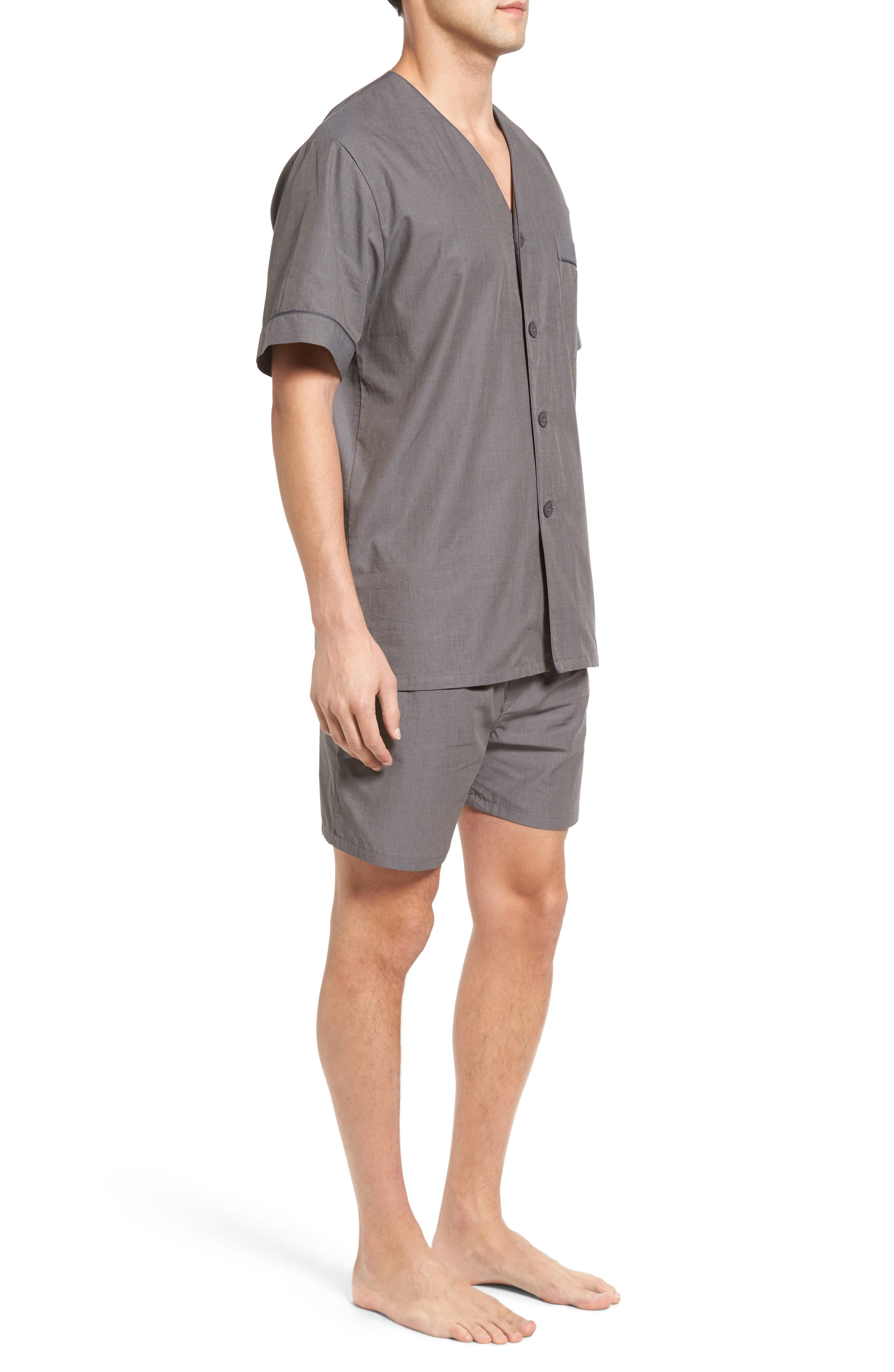 Cotton Short Pajamas,                             Alternate thumbnail 3, color,                             CHARCOAL