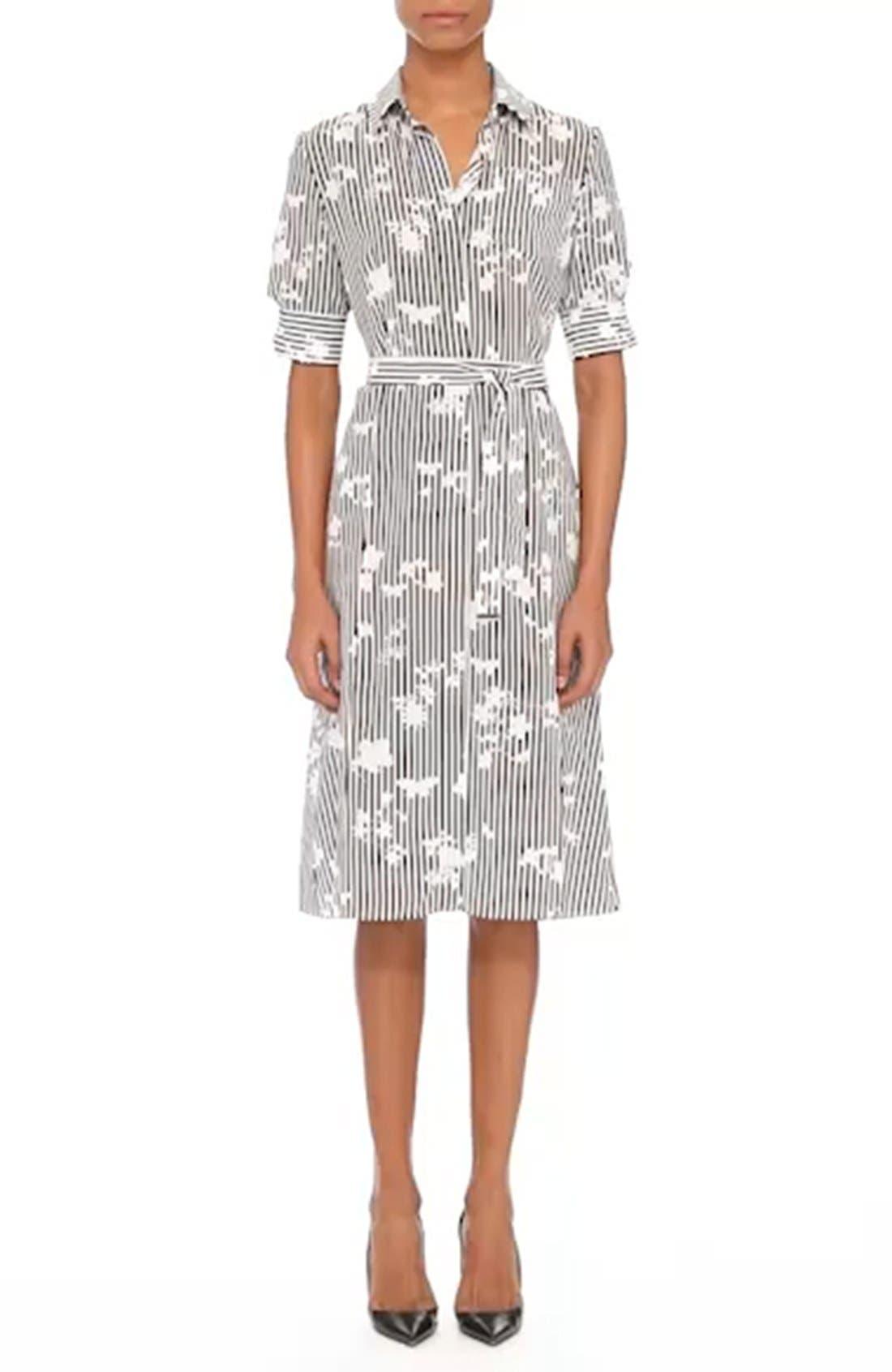Floral Stripe Silk Shirtdress,                             Main thumbnail 1, color,                             001