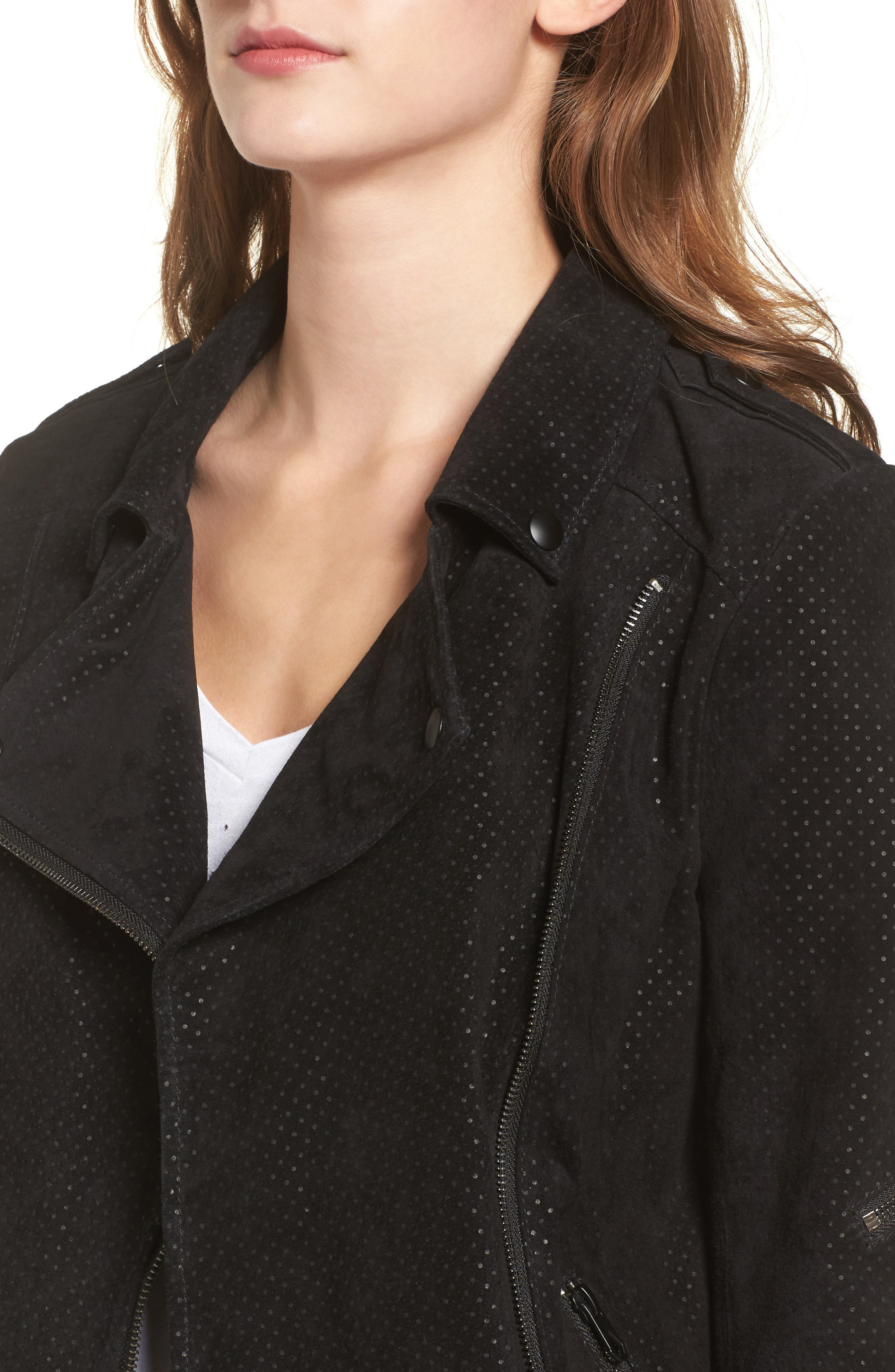 Motorin Suede Jacket,                             Alternate thumbnail 4, color,                             001