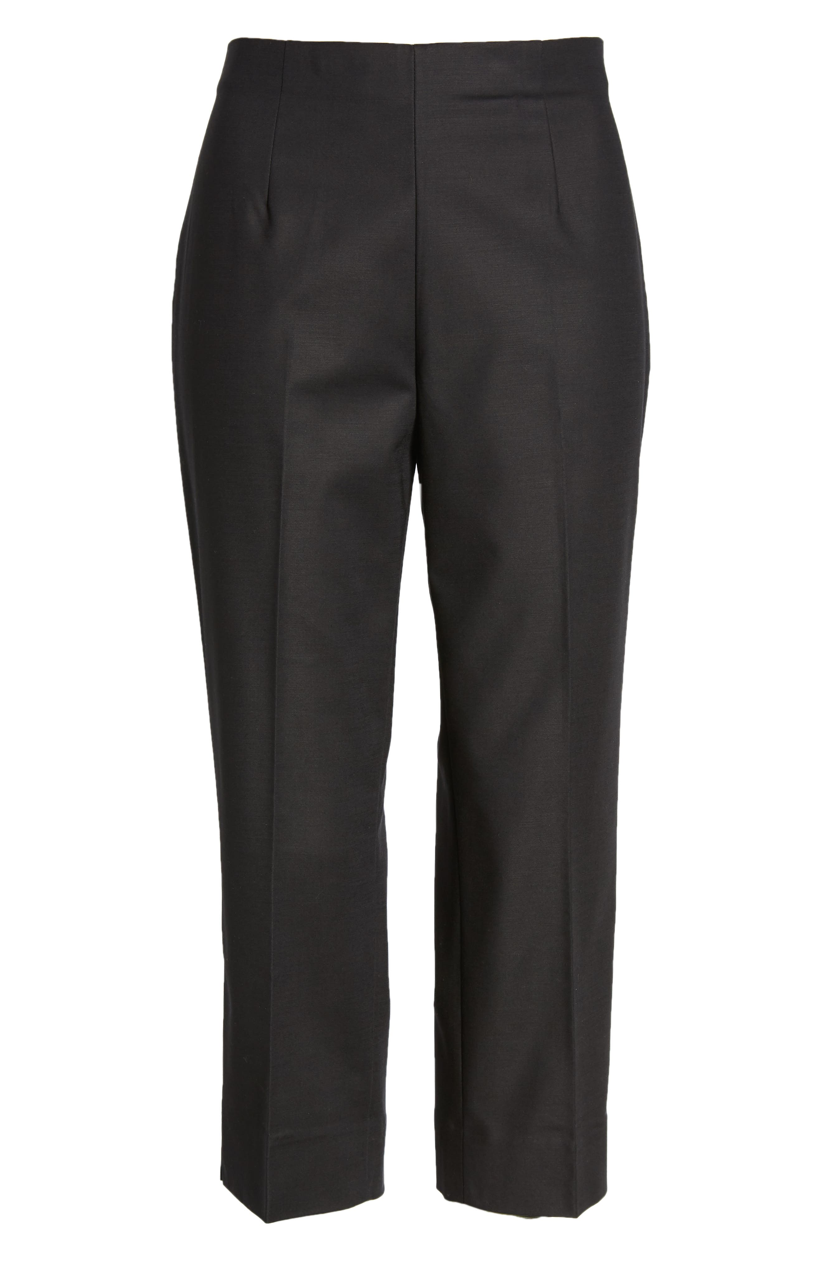 Perfect Side Zip Crop Pants,                             Alternate thumbnail 6, color,                             BLACK ONYX