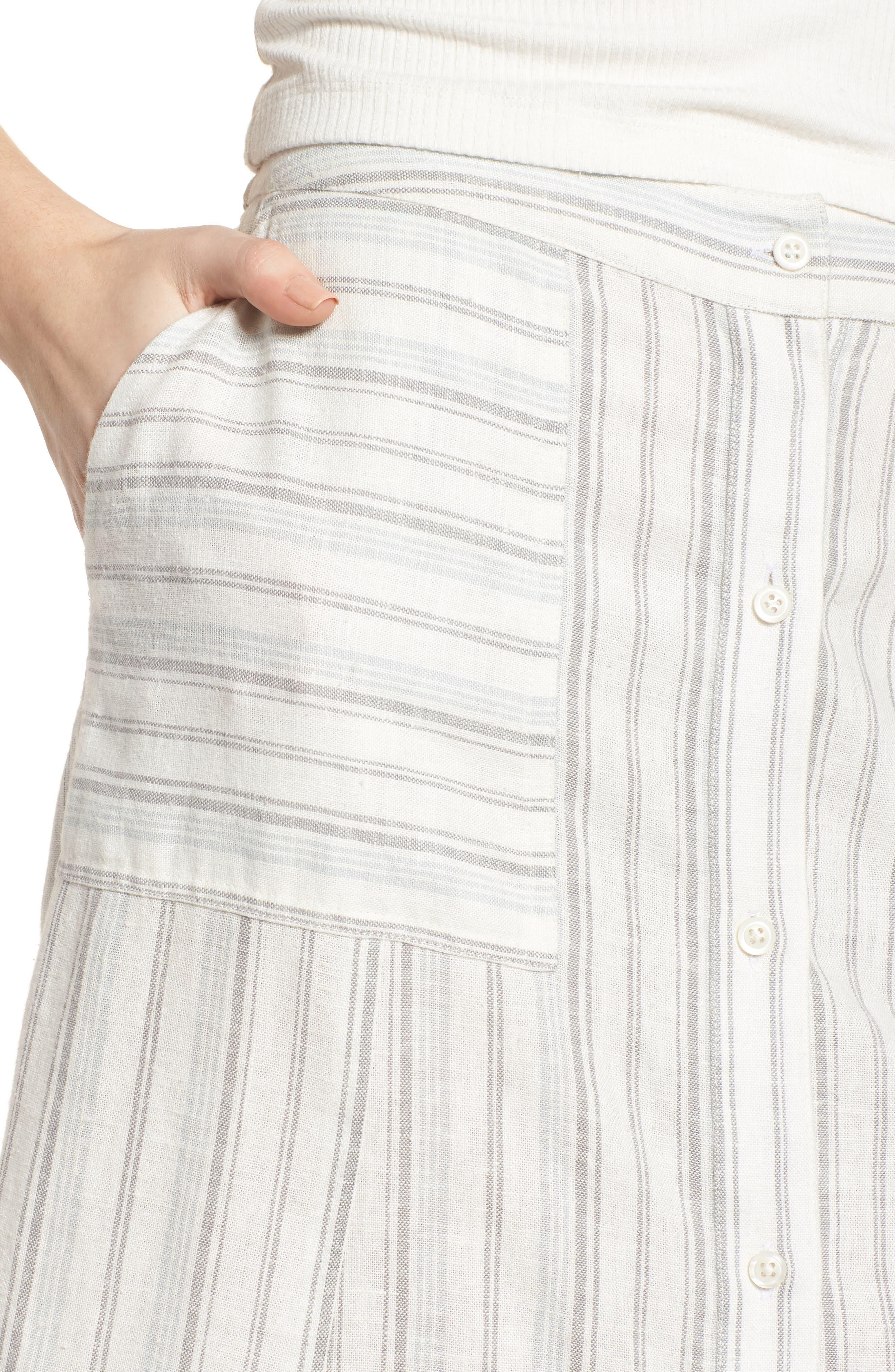 BP.,                             Stripe Linen Blend Midi Skirt,                             Alternate thumbnail 4, color,                             900